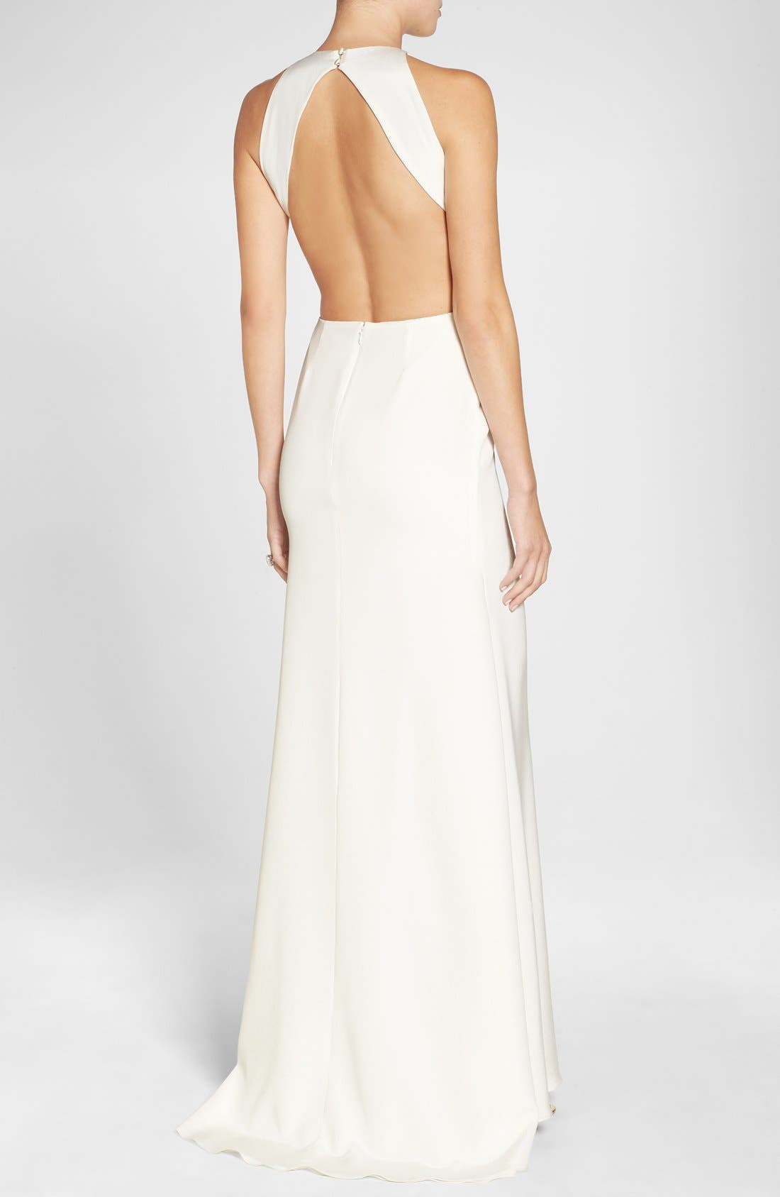 Alternate Image 2  - Sarah Seven Cutout Back Silk Crepe Halter Style Gown