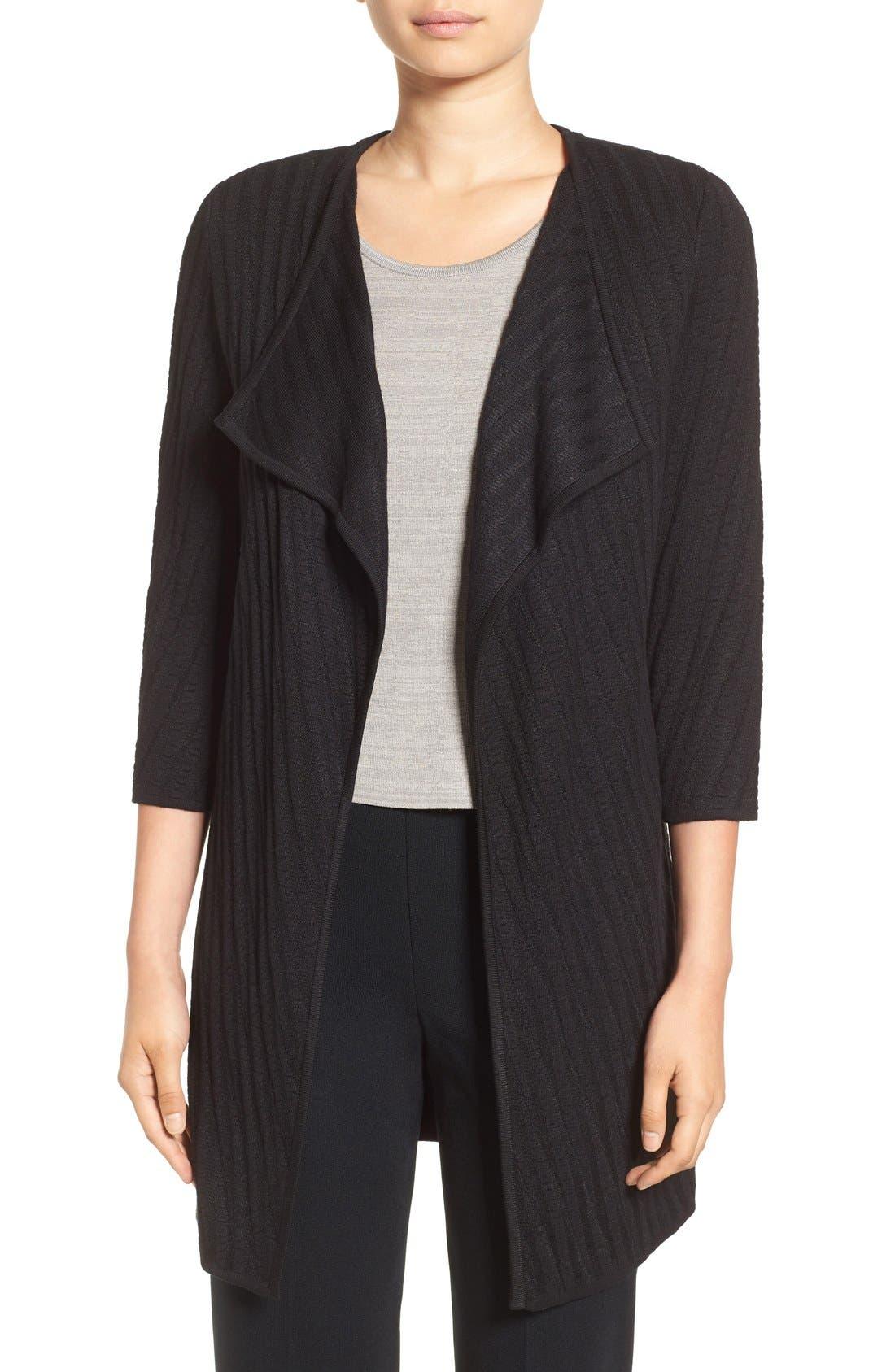Drape Front Long Sweater Jacket,                             Main thumbnail 1, color,                             Black