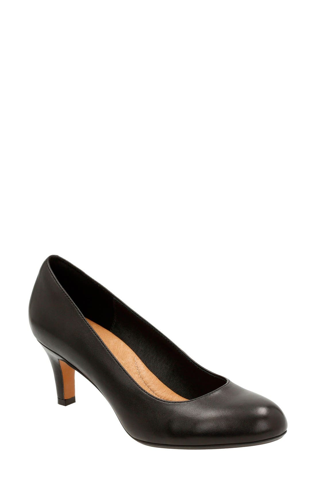 'Heavenly Heart' Pump,                         Main,                         color, Black Leather