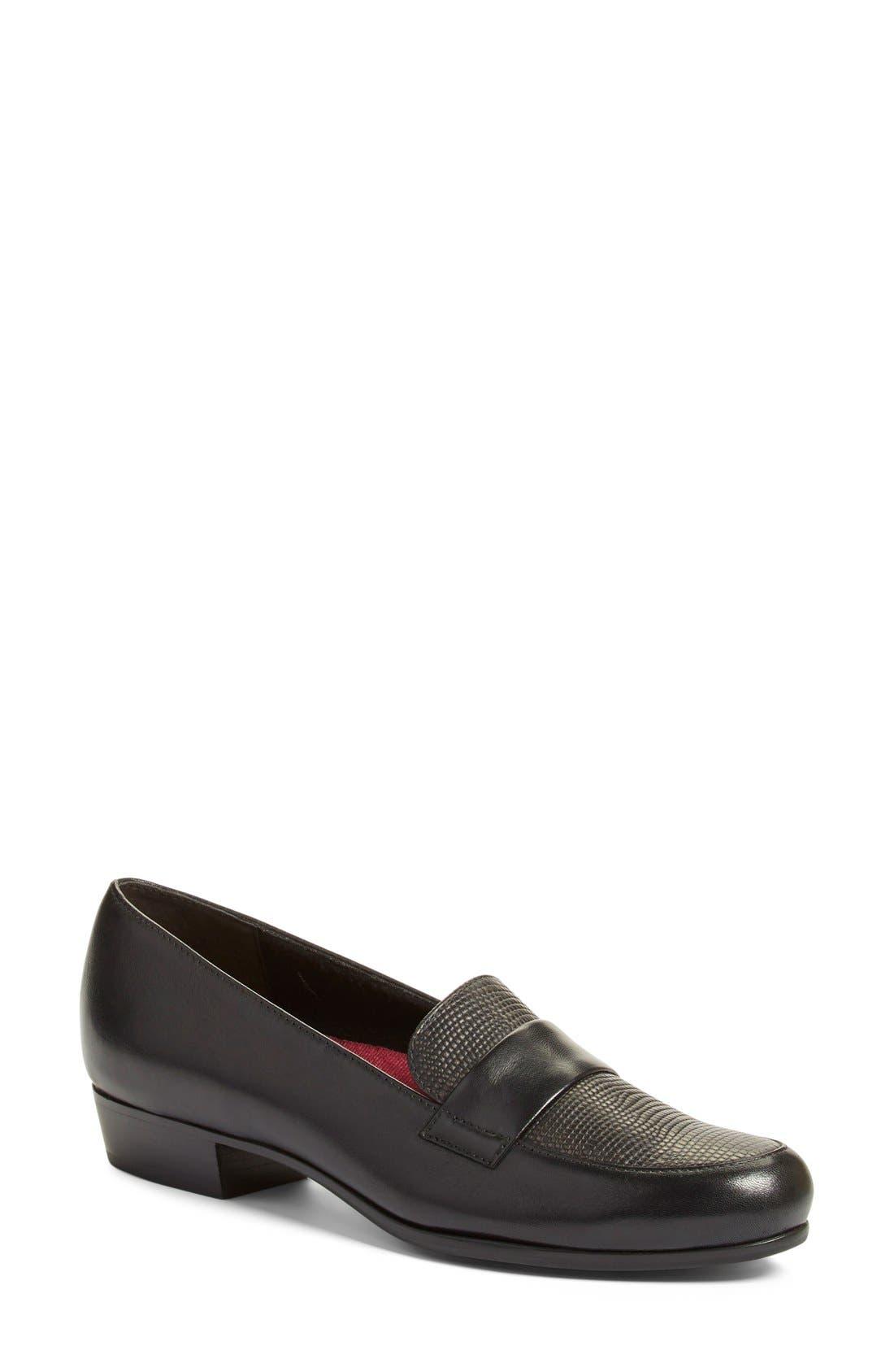 'Kiera' Loafer,                             Main thumbnail 1, color,                             Black Lizard Print Leather