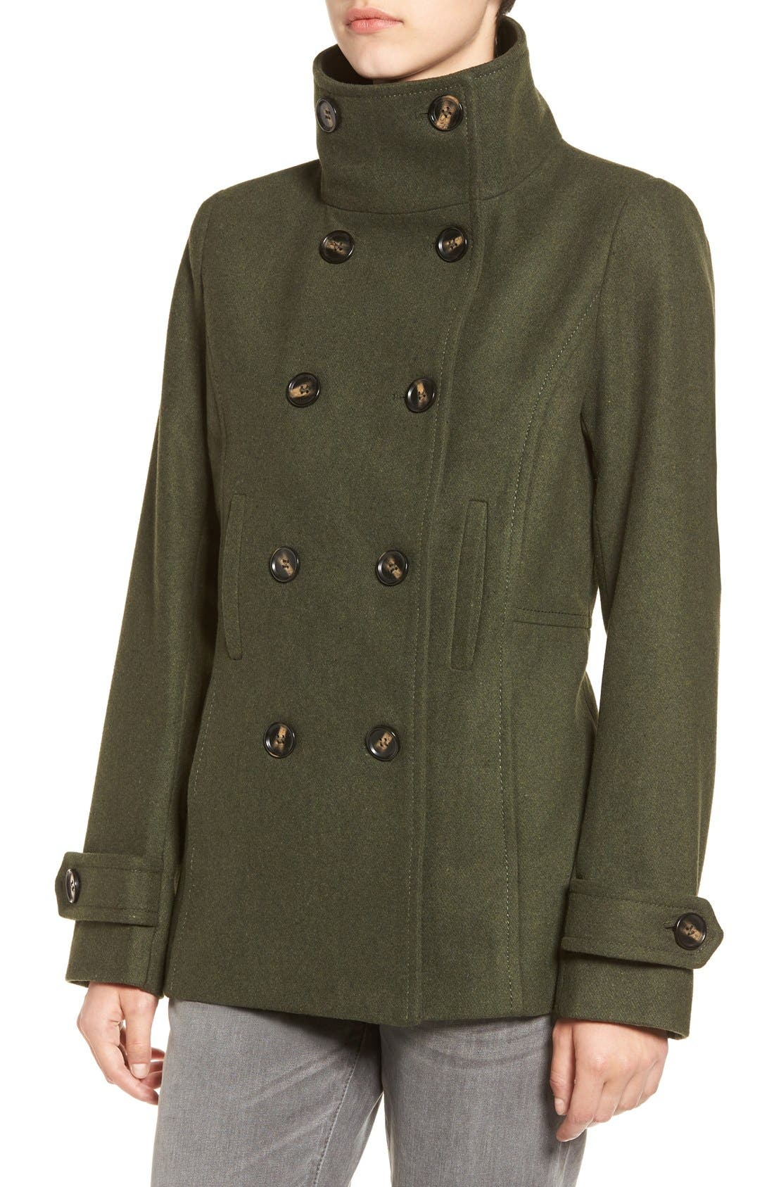 Double Breasted Peacoat,                             Alternate thumbnail 4, color,                             Hunter Green