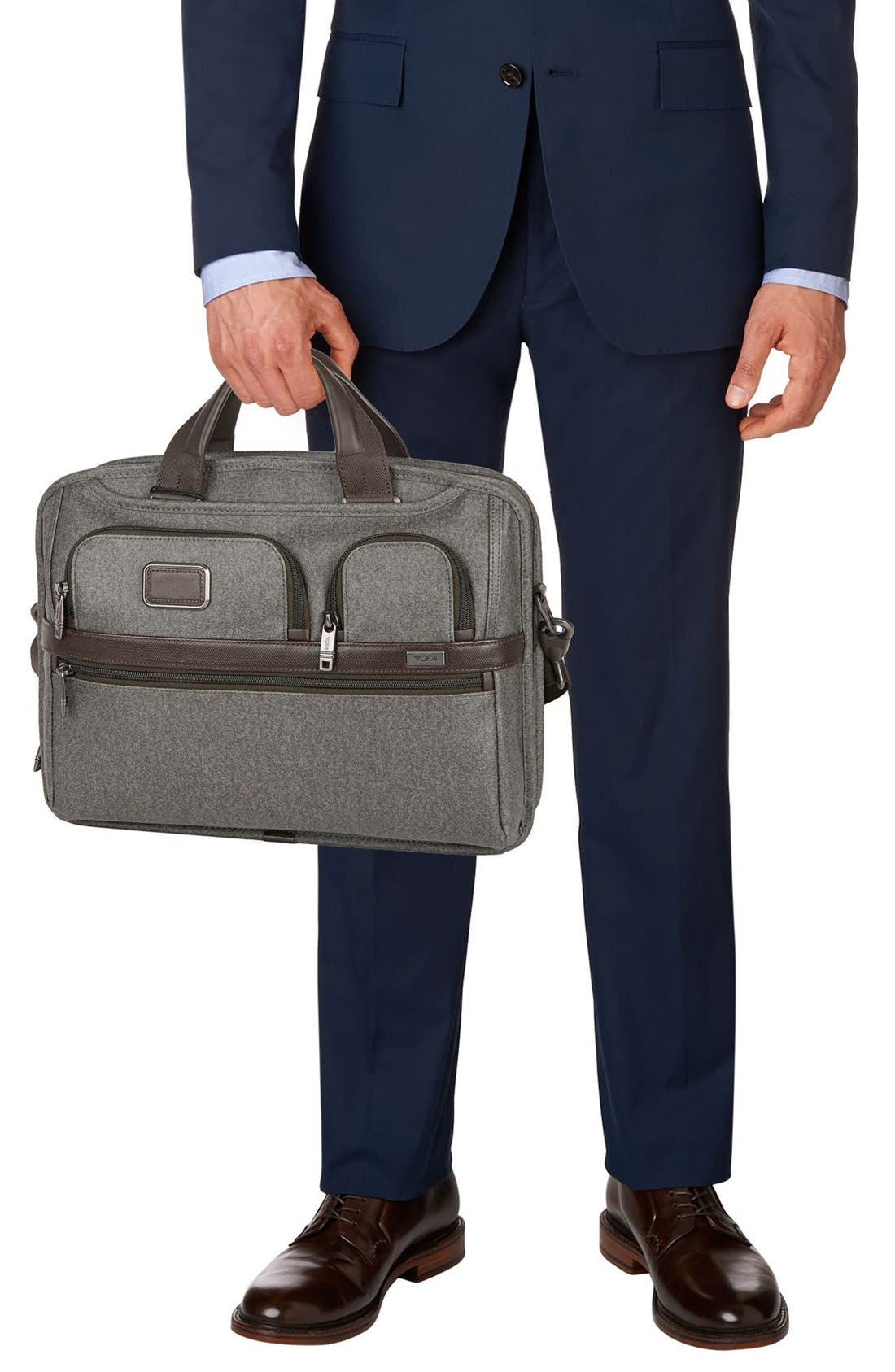 'Alpha 2' T-Pass<sup>®</sup> Coated Canvas Briefcase,                             Alternate thumbnail 2, color,                             Earl Grey