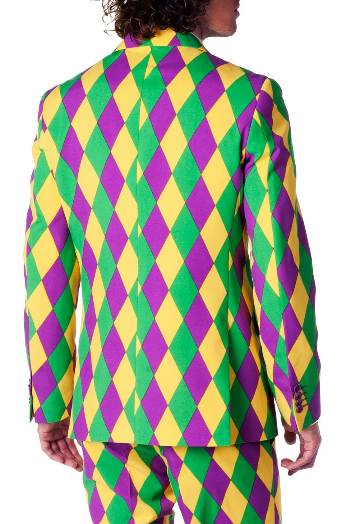 'Harleking' Trim Fit Suit with Tie,                             Alternate thumbnail 2, color,                             Green/ Purple/ Yellow
