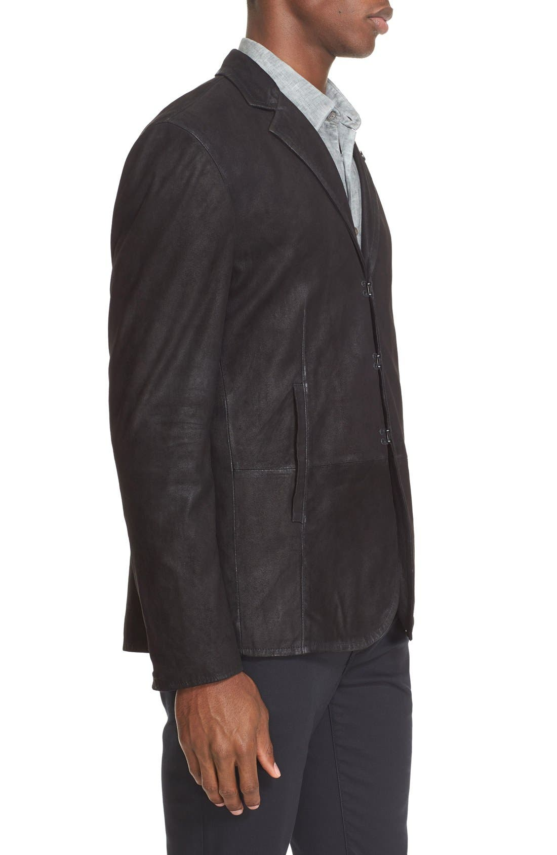 Slim Fit Leather Sport Coat,                             Alternate thumbnail 3, color,                             Black