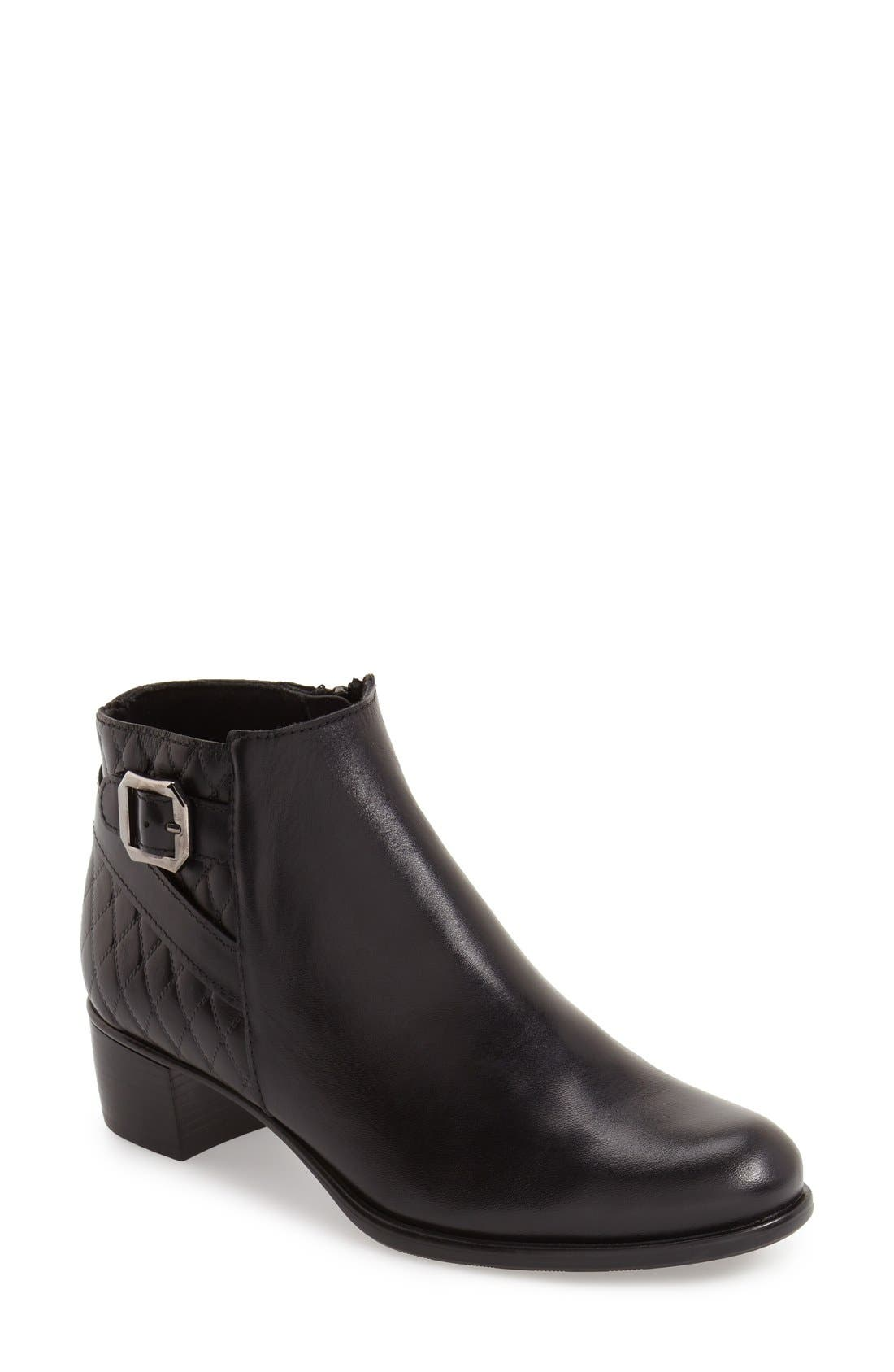 'Jolynn' Bootie,                             Main thumbnail 1, color,                             Black Quilted Leather