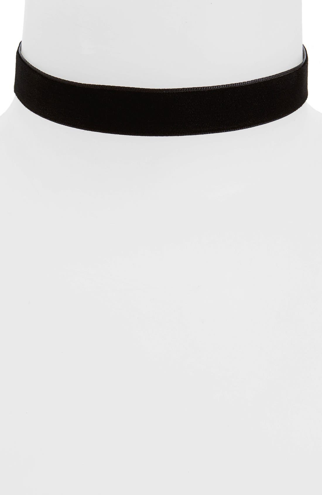 Velvet Choker,                         Main,                         color, Black