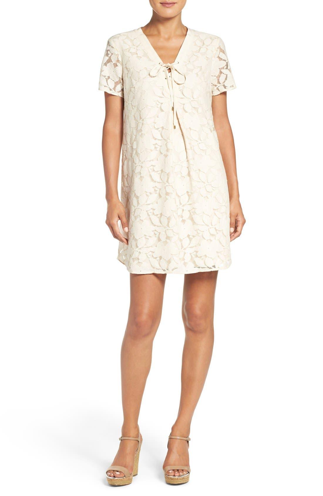 Floral Lace Shift Dress,                         Main,                         color, Ivory