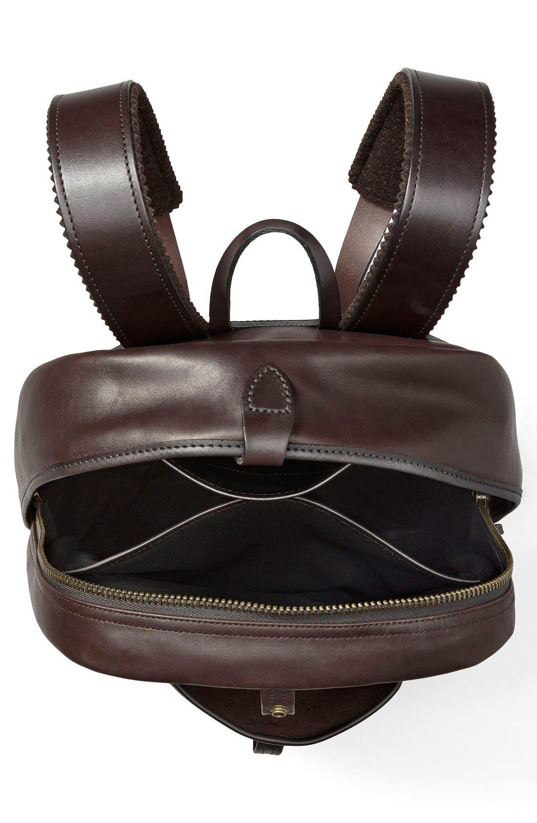 Weatherproof Leather Backpack,                             Alternate thumbnail 3, color,                             Sierra Brown