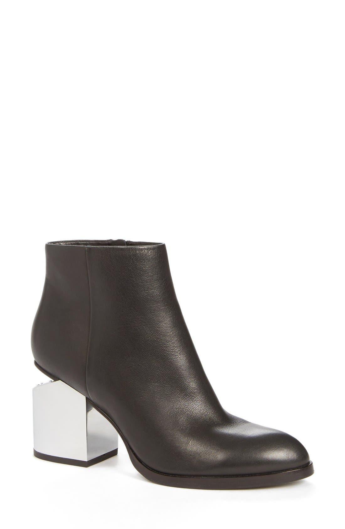 'Gabi' Silver Heel Bootie,                         Main,                         color, Black Calf