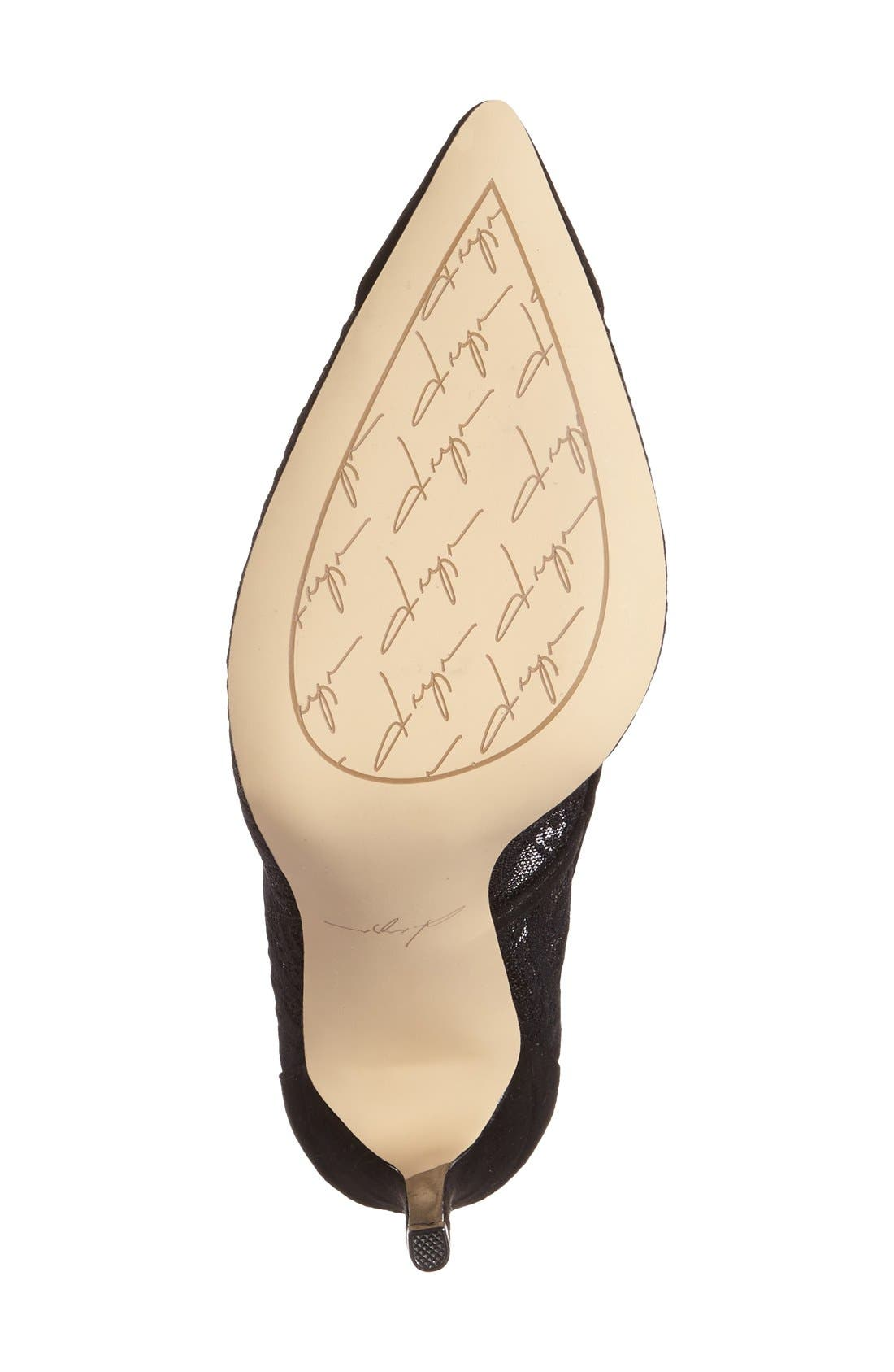 by Zendaya 'Annabelle' Pointy Toe Pump,                             Alternate thumbnail 4, color,                             Black Lace Fabric