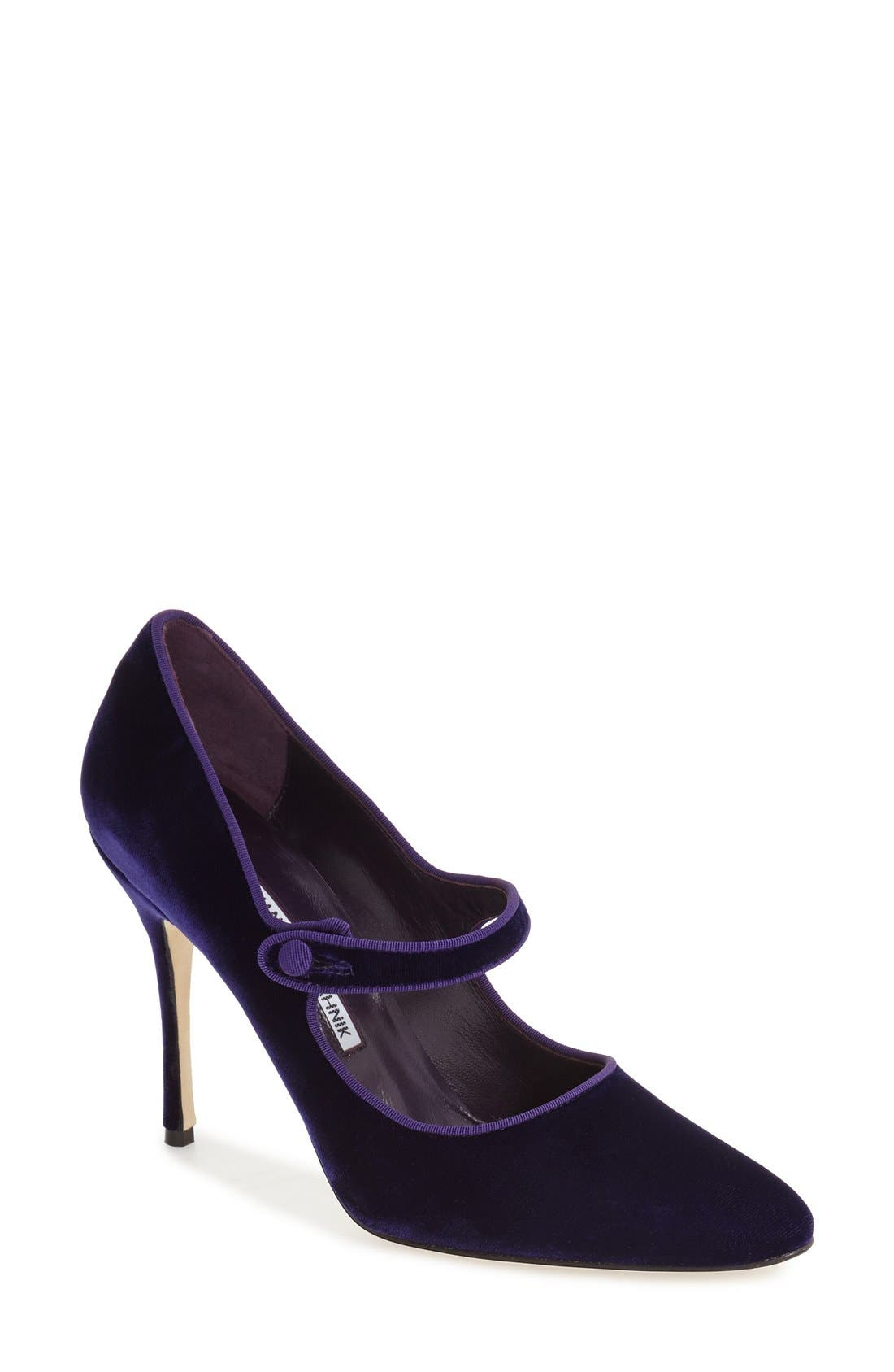 Alternate Image 1 Selected - Manolo Blahnik 'Campy' Velvet Pump (Women) (Nordstrom Exclusive Color)