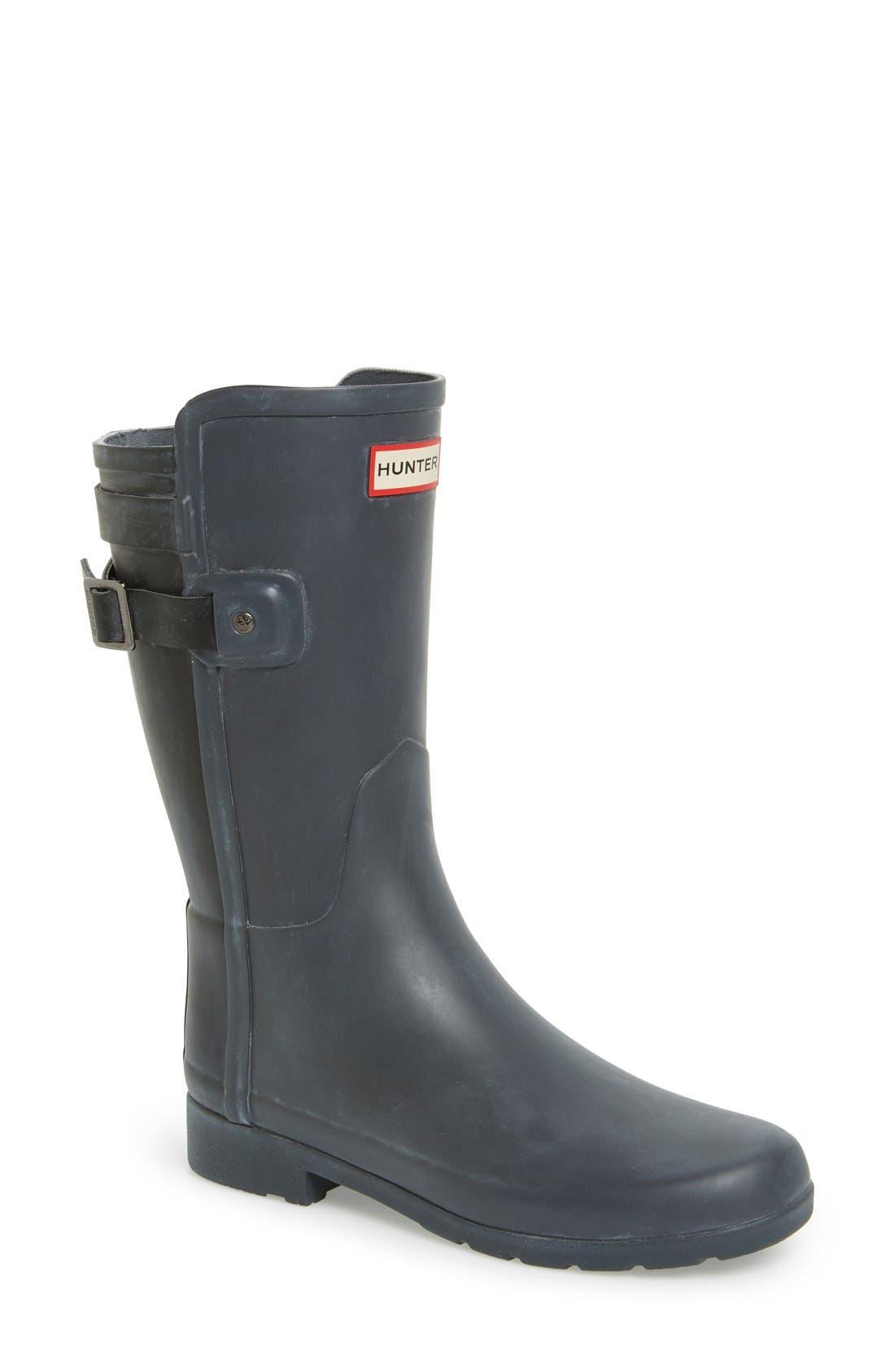 'Original Refined' Short Rain Boot,                             Main thumbnail 1, color,                             Dark Slate/ Black