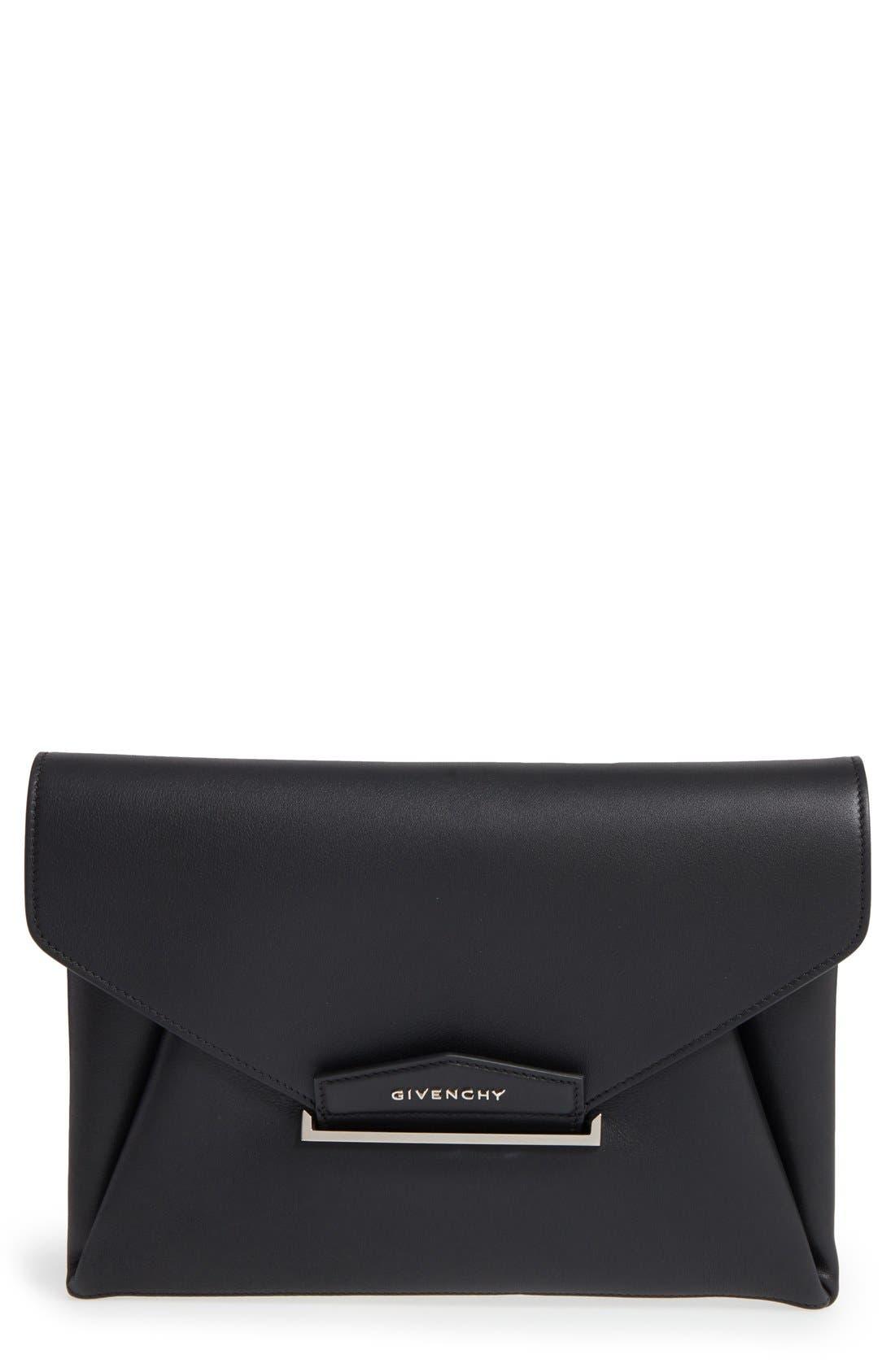 'Medium Antigona' Leather Envelope Clutch,                             Main thumbnail 1, color,                             Black