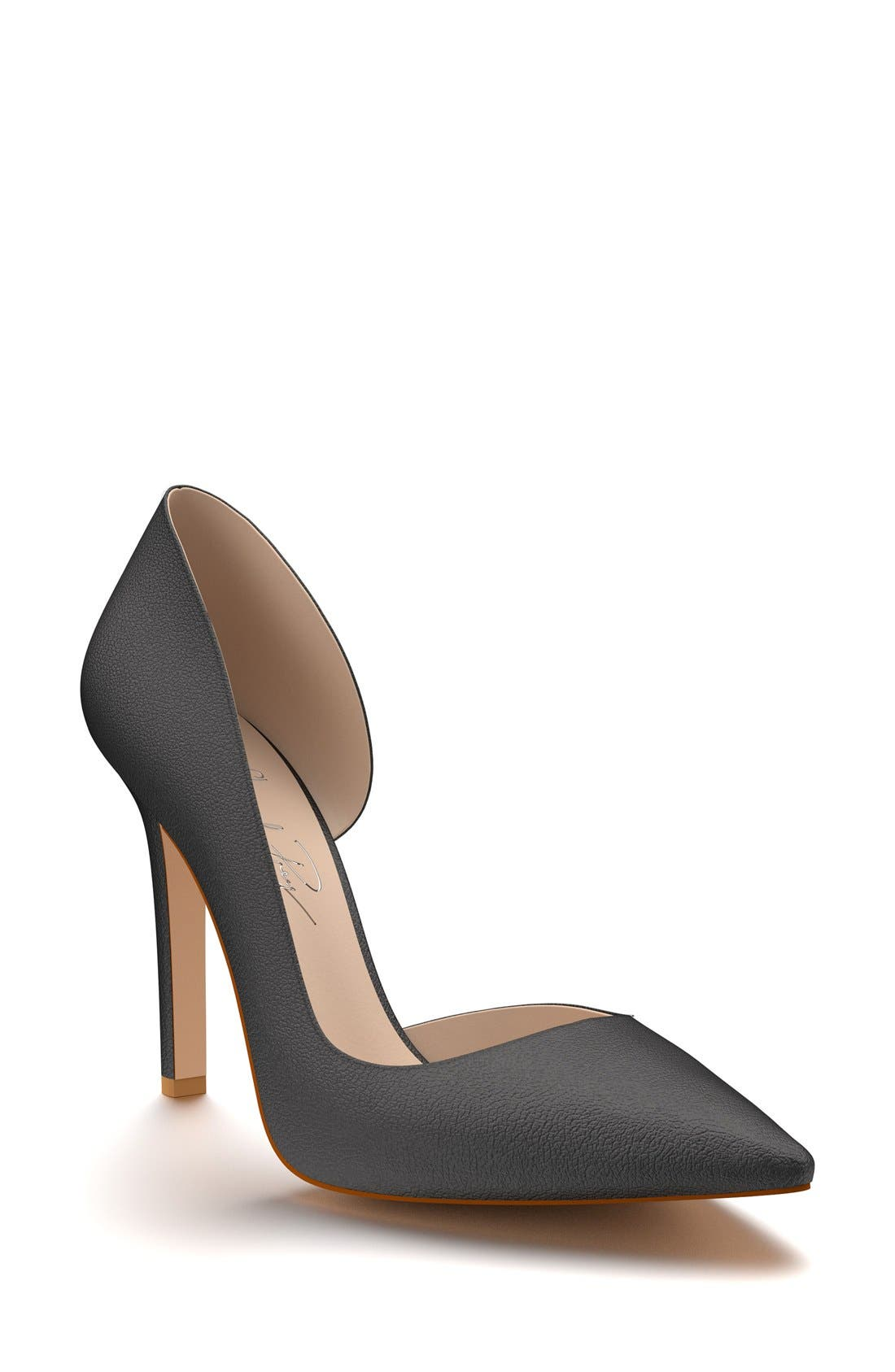 Half d'Orsay Pump,                         Main,                         color, Black Leather