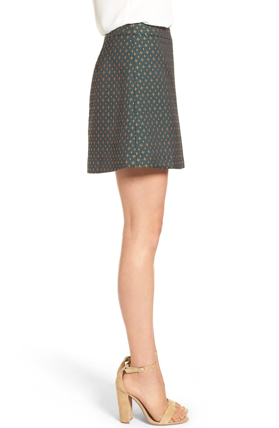 Jacquard A-Line Skirt,                             Alternate thumbnail 3, color,                             Green Mosaic Jacquard