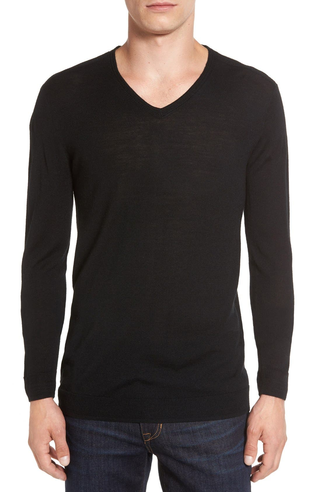 V-Neck Sweater,                             Main thumbnail 1, color,                             Black