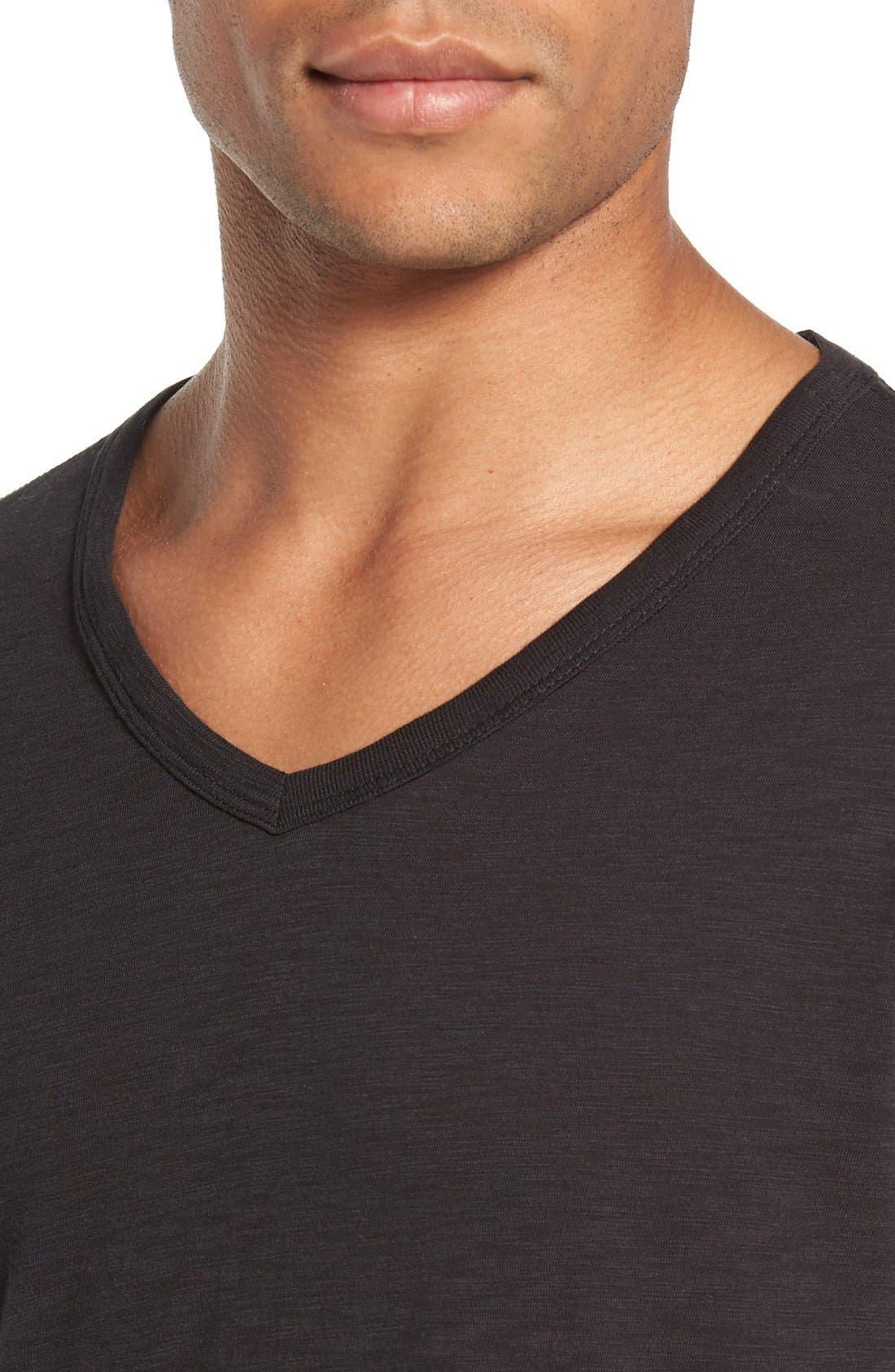 Slub V-Neck T-Shirt,                             Alternate thumbnail 4, color,                             Black