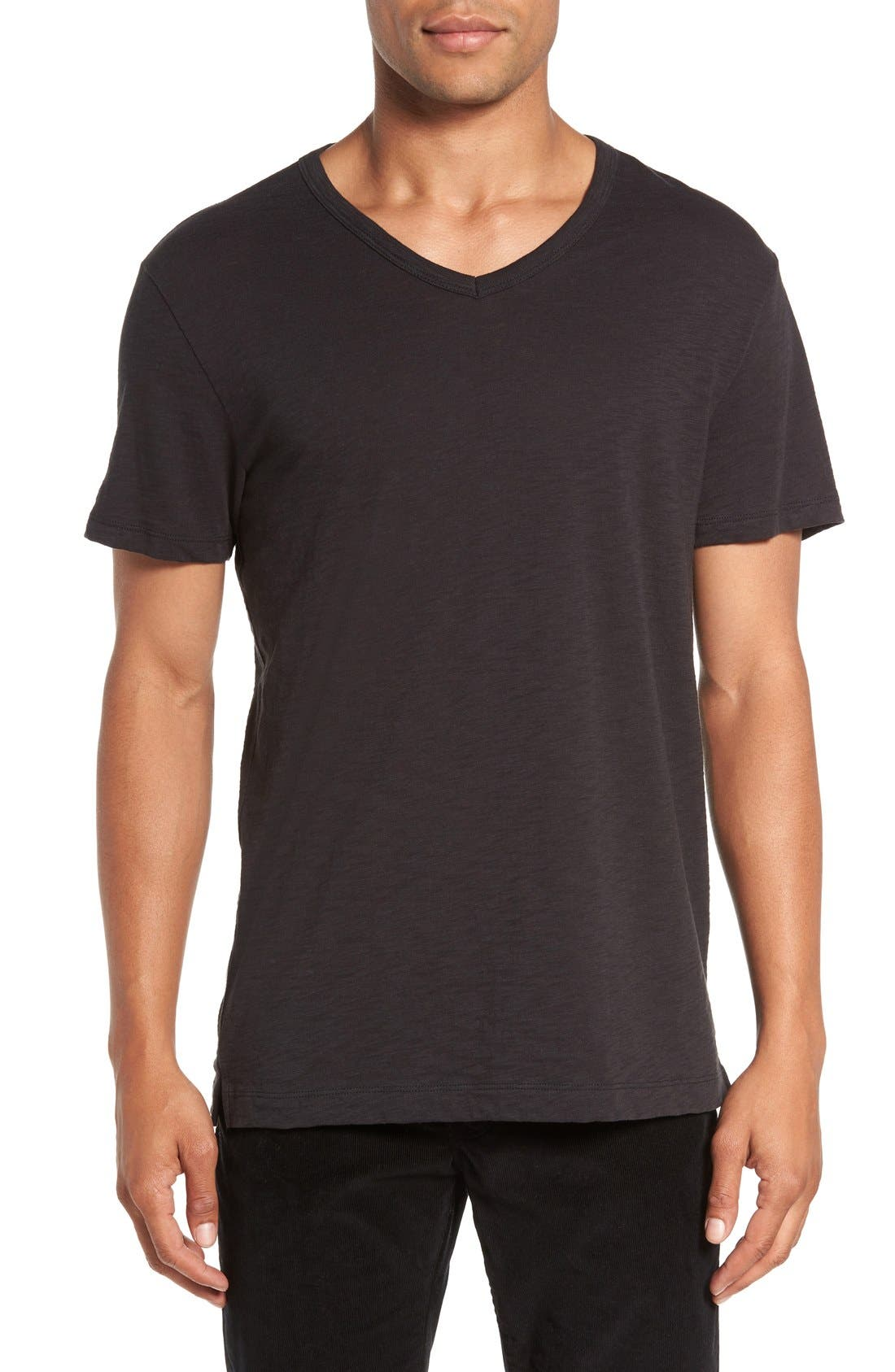 Slub V-Neck T-Shirt,                         Main,                         color, Black