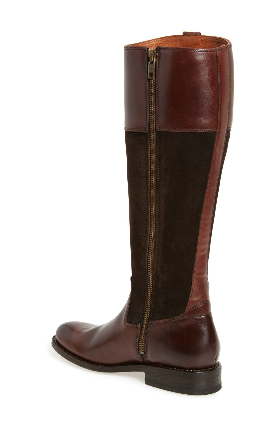 'Jayden Button' Tall Boot,                             Alternate thumbnail 2, color,                             Chocolate Oiled Suede