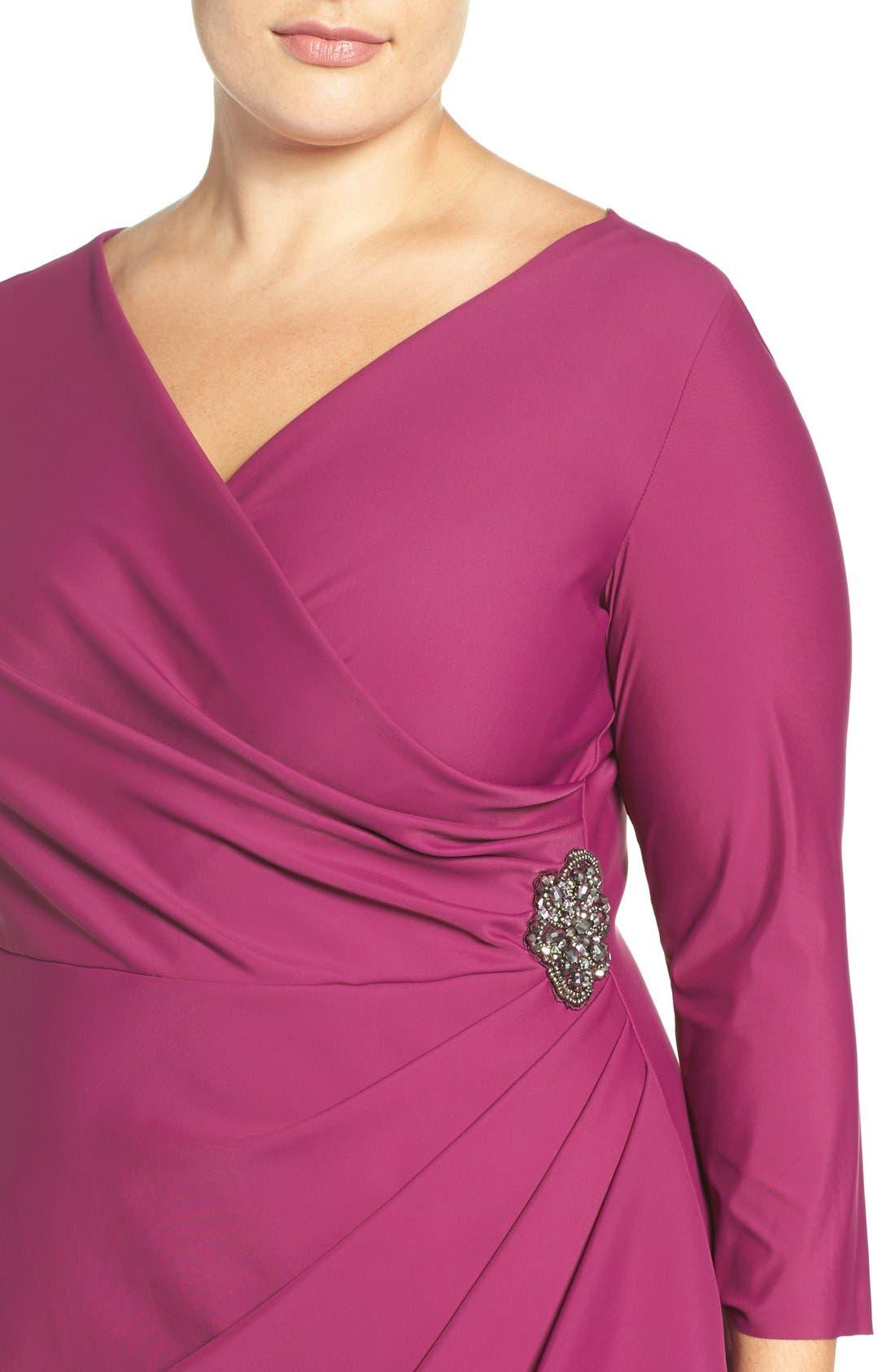 Alternate Image 5  - Alex Evenings Embellished Surplice Sheath Dress (Plus Size)