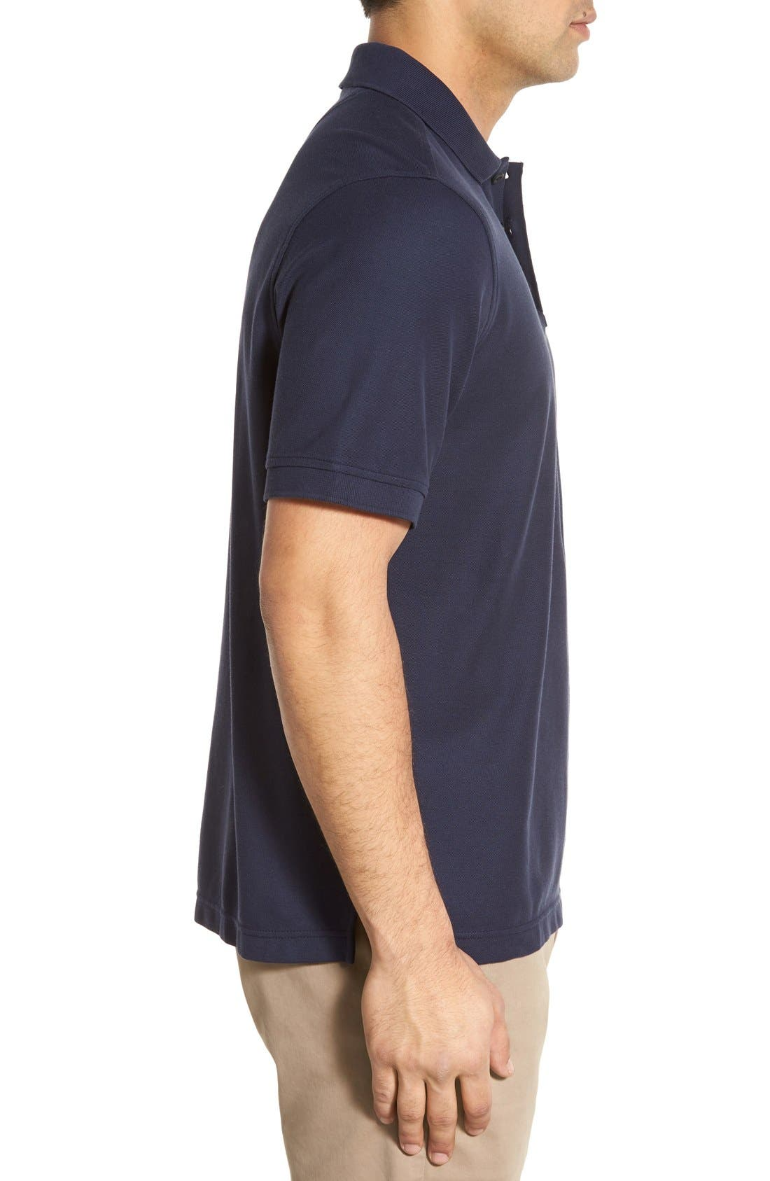 Classic Regular Fit Piqué Polo,                             Alternate thumbnail 3, color,                             Navy