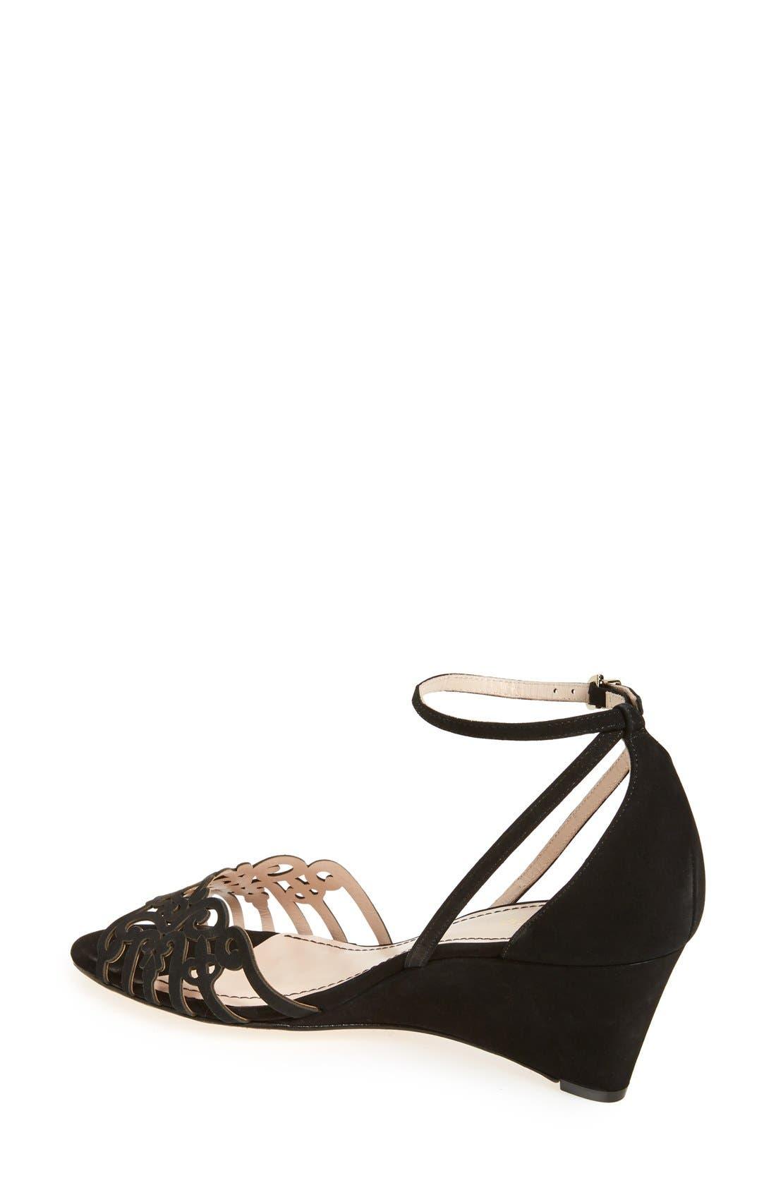 'Kingston' Ankle Strap Wedge Sandal,                             Alternate thumbnail 2, color,                             Black Nubuck Leather