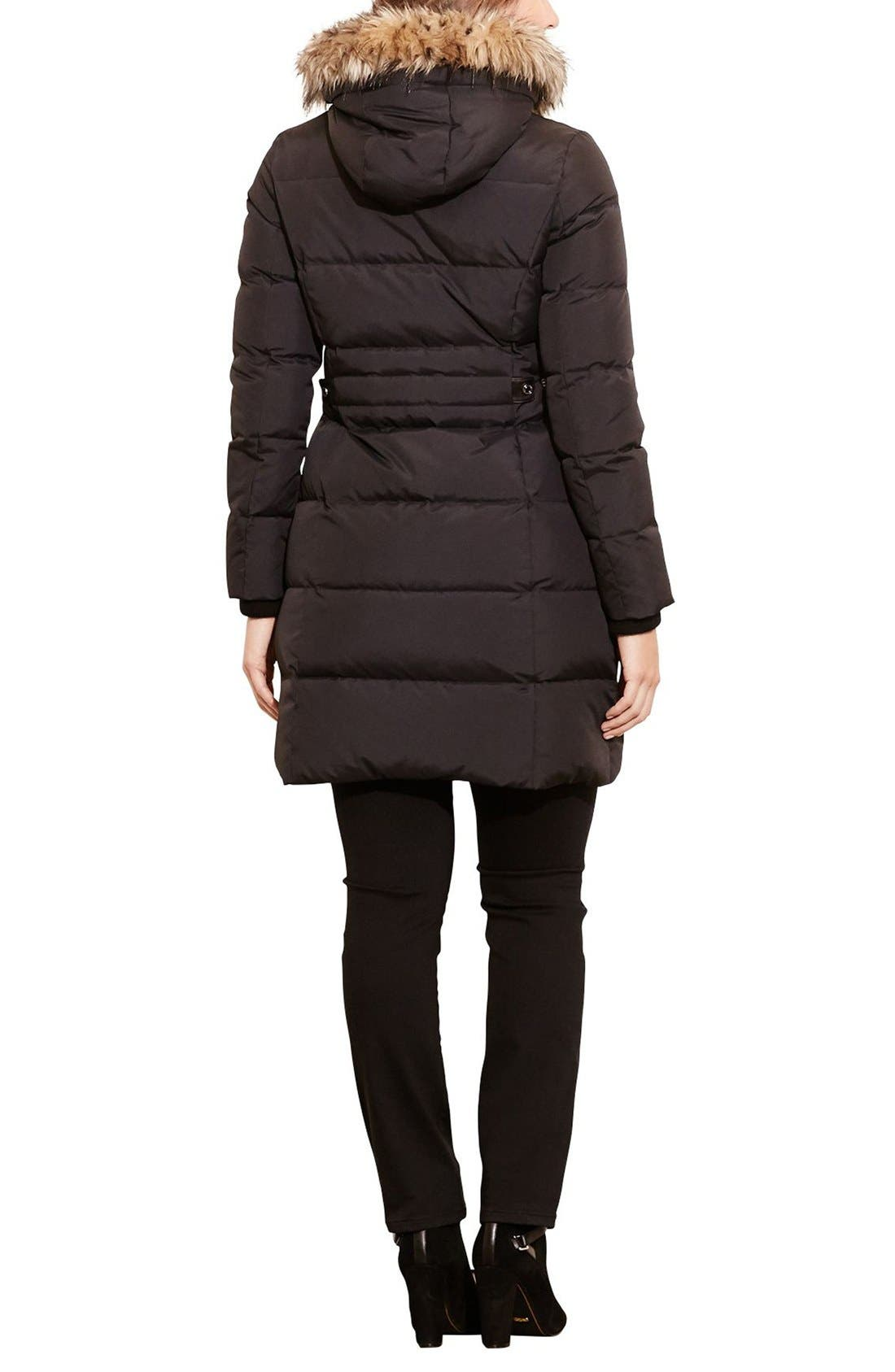 Quilted Down & Feather Fill Parka with Faux Fur Trim,                             Alternate thumbnail 2, color,                             Black