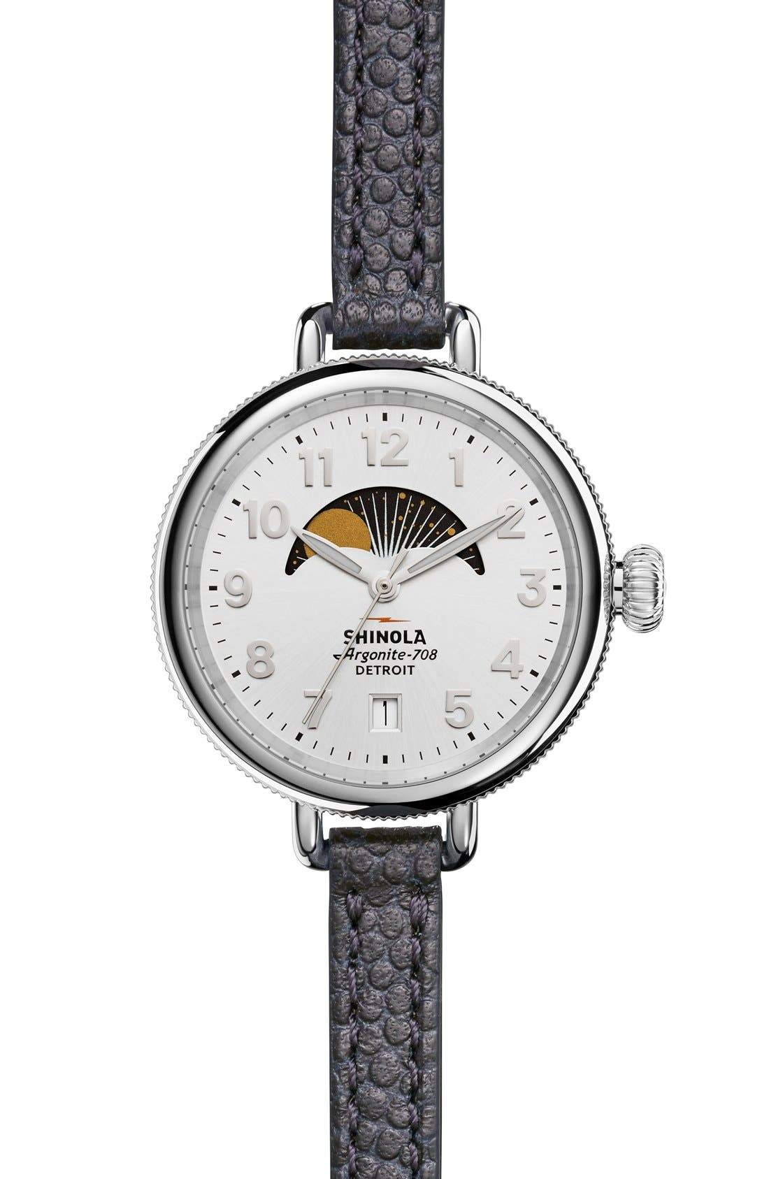 Shinola 'The Birdy' Moon Phase Leather Strap Watch, 34mm