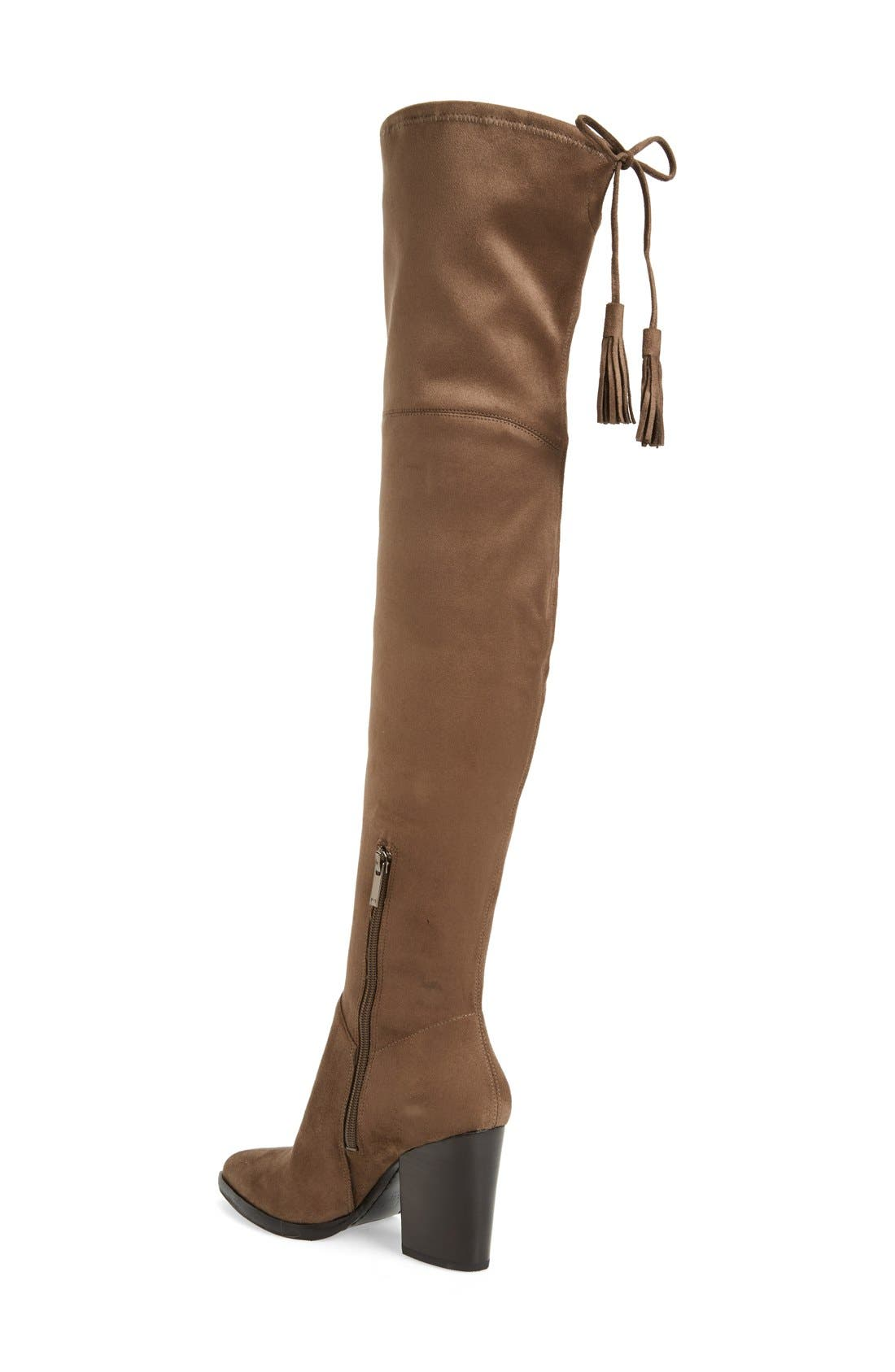 'Alinda' Over the Knee Boot,                             Alternate thumbnail 2, color,                             Tan Stretch Fabric