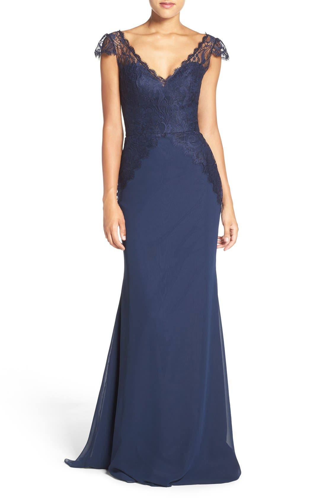 Hayley Paige Occasions Cap Sleeve Lace & Chiffon Trumpet Gown