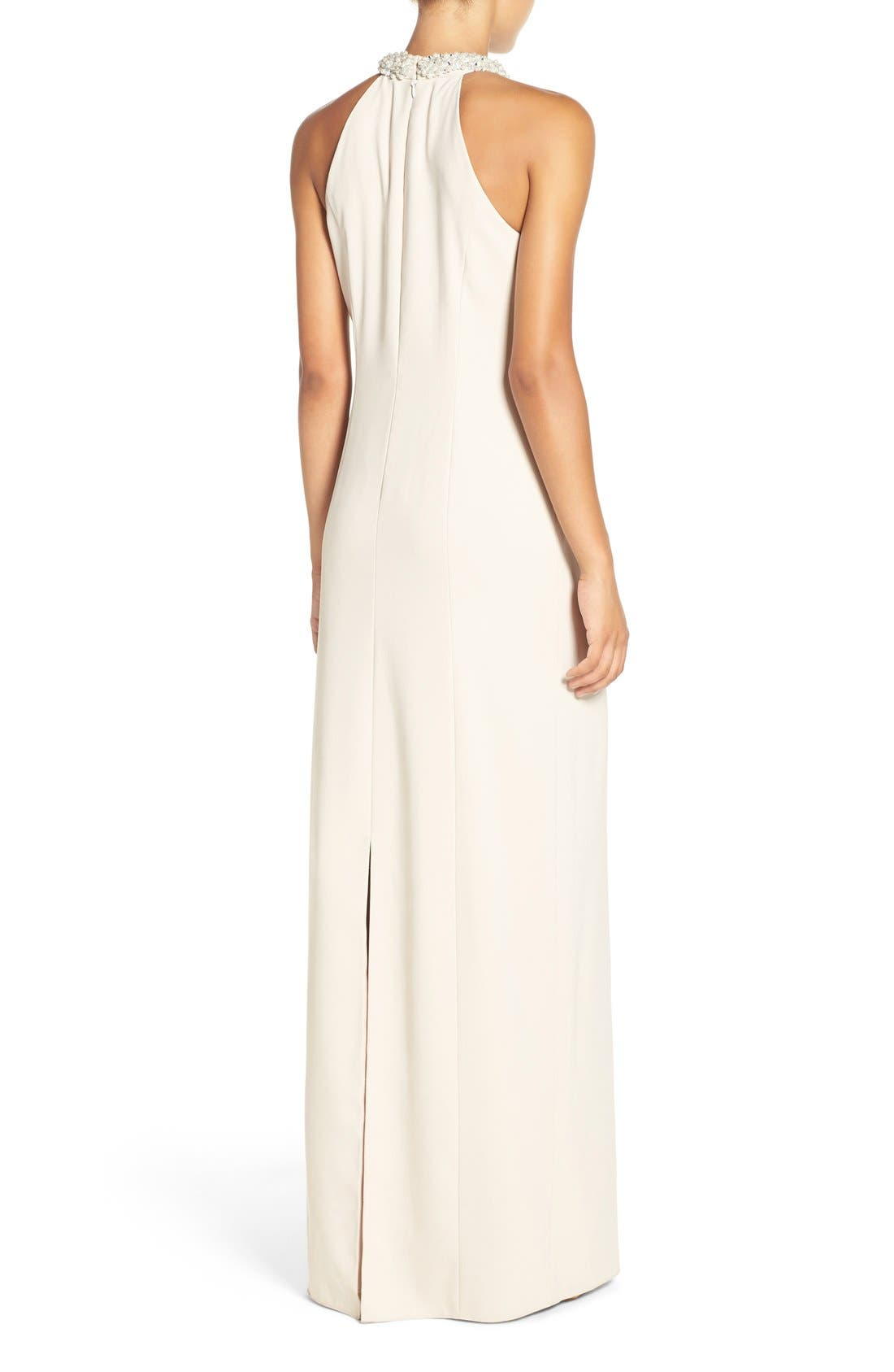 Alternate Image 3  - Dessy Collection Beaded Halter Neck Crepe Gown