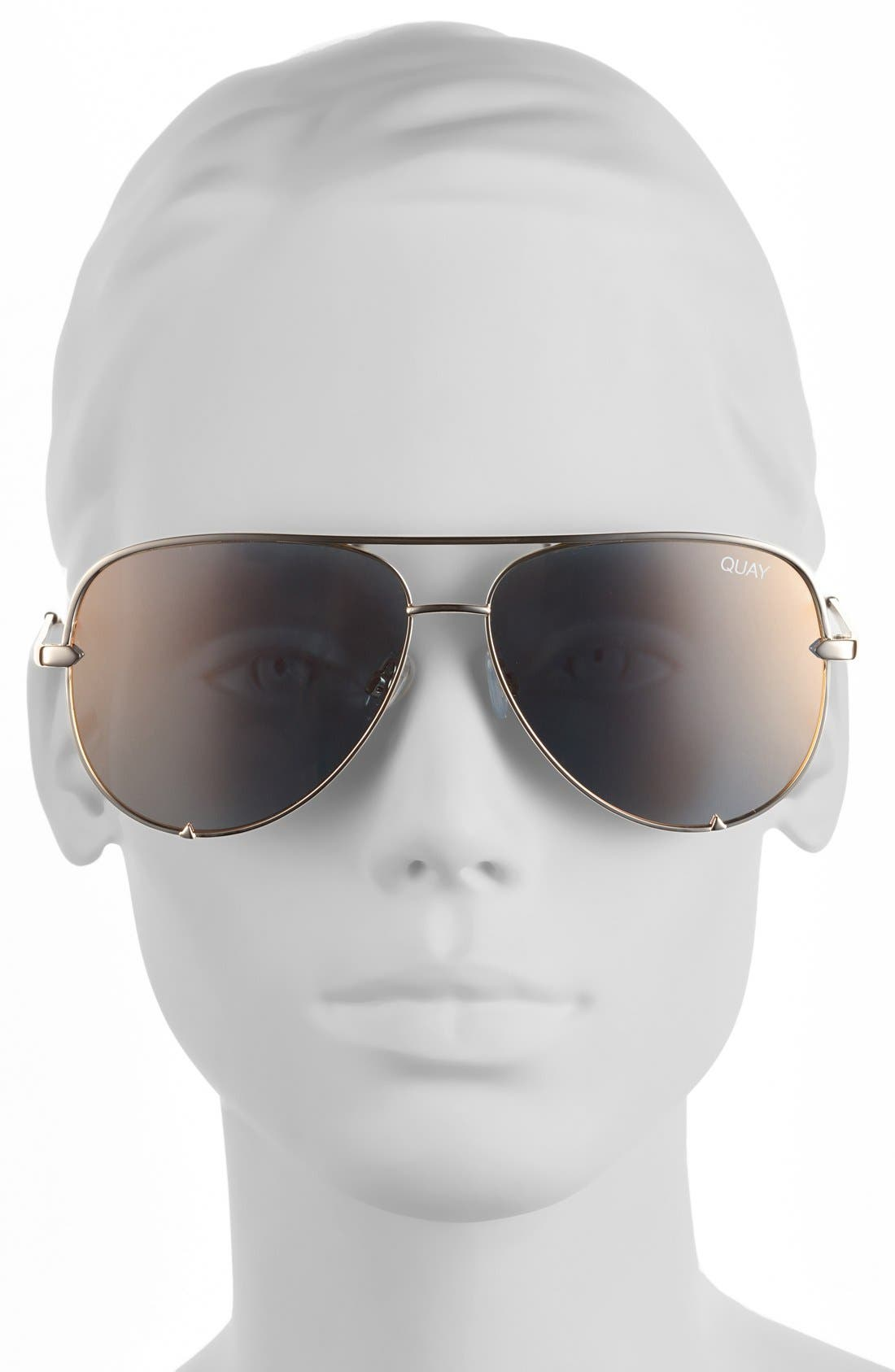 x Desi Perkins High Key 62mm Aviator Sunglasses,                             Alternate thumbnail 3, color,                             Gold/ Gold Mirror
