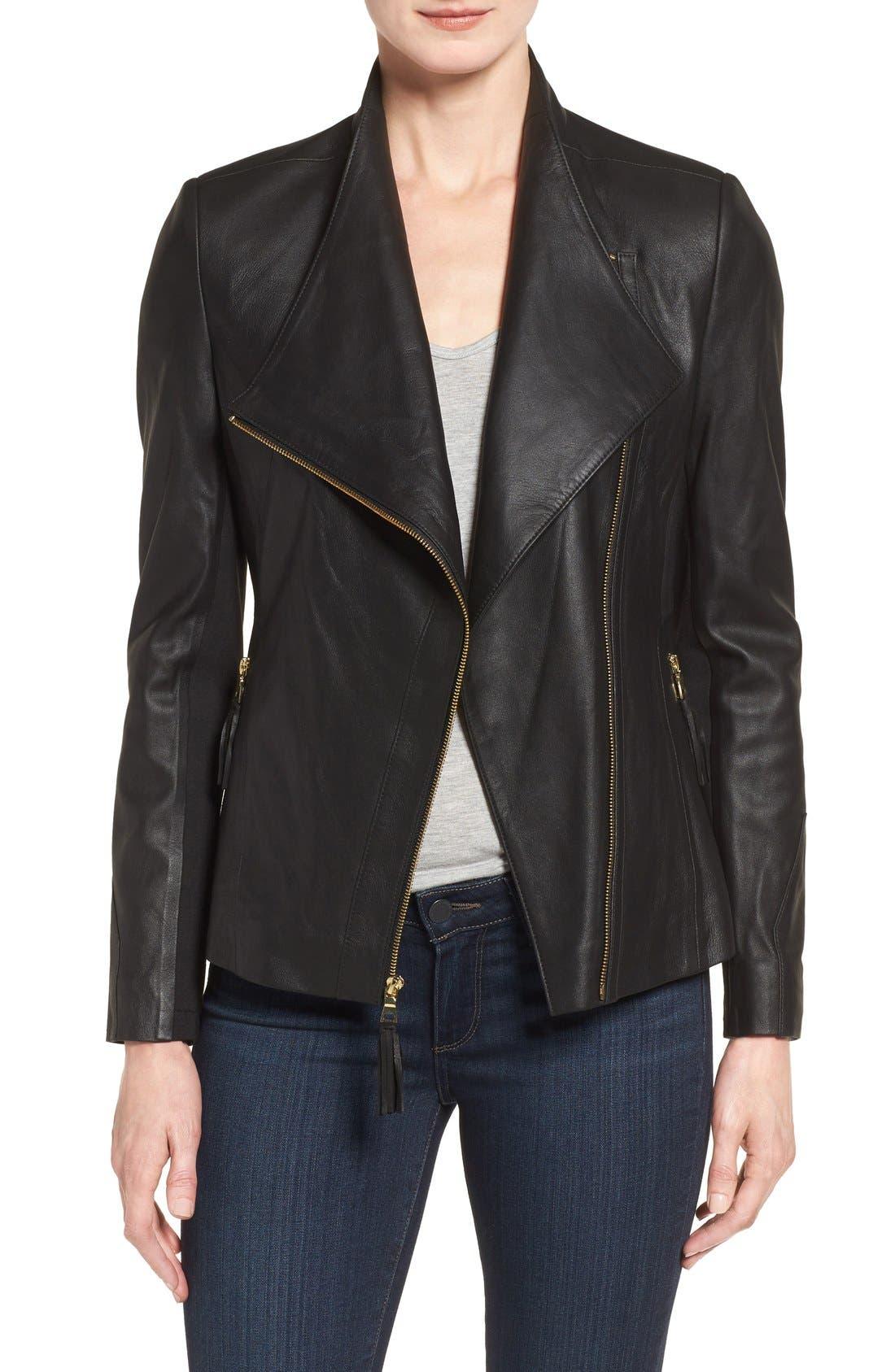 Alternate Image 1 Selected - Via Spiga Asymmetrical Leather Jacket