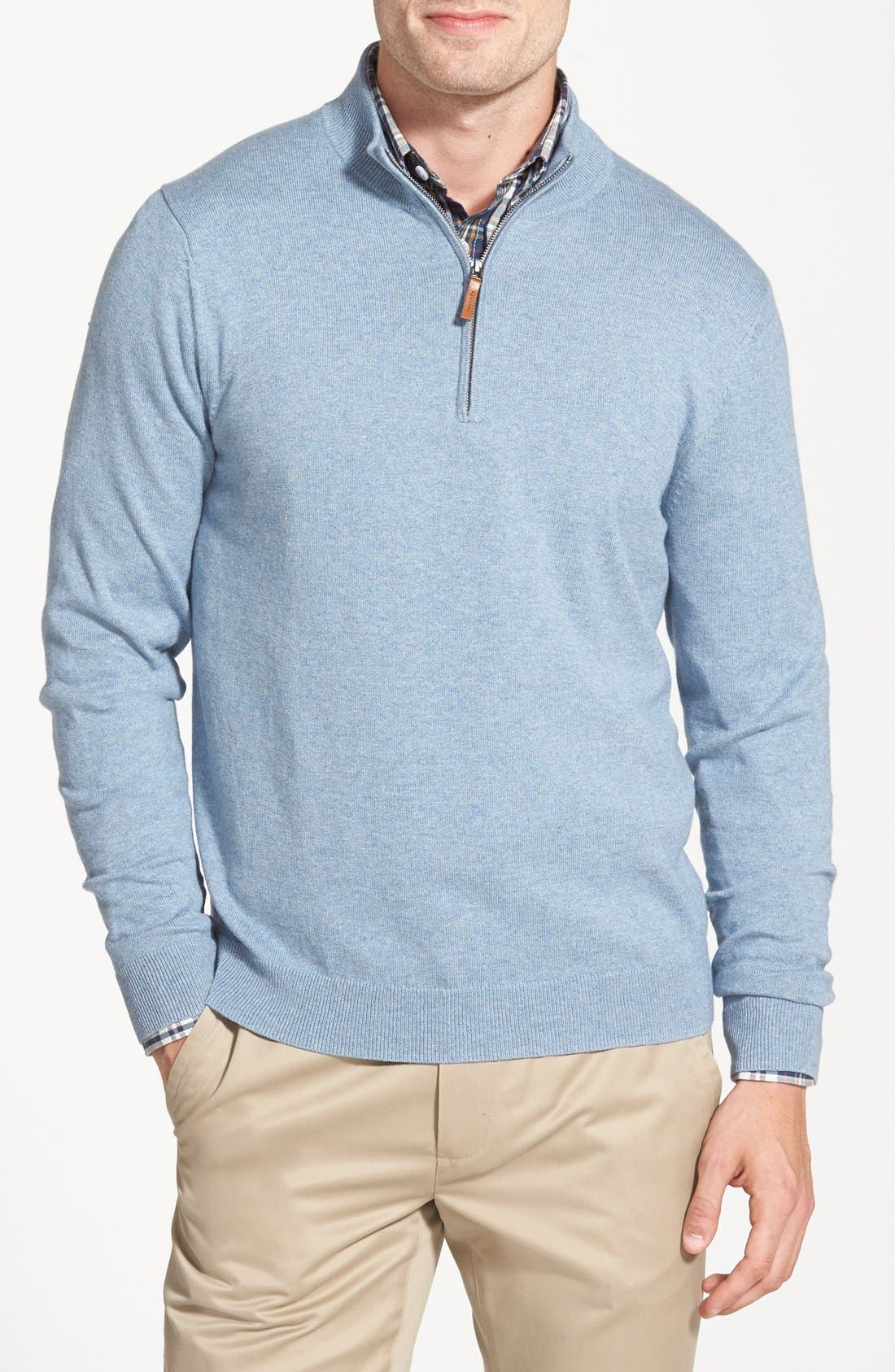 Alternate Image 1 Selected - Nordstrom Men's Shop Quarter Zip Sweater (Big)
