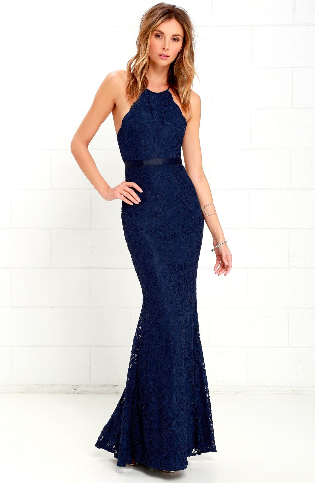 Spaghetti Strap Scallop Lace Mermaid Gown,                             Alternate thumbnail 2, color,                             Navy