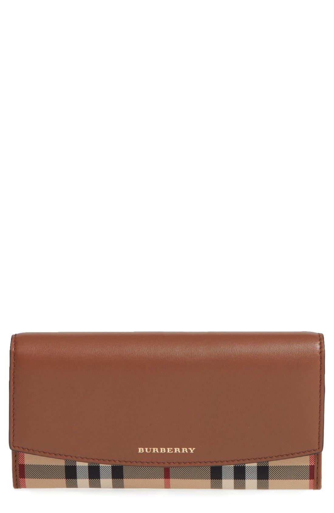 'Porter - Horseferry Check' Continental Wallet,                         Main,                         color, Tan