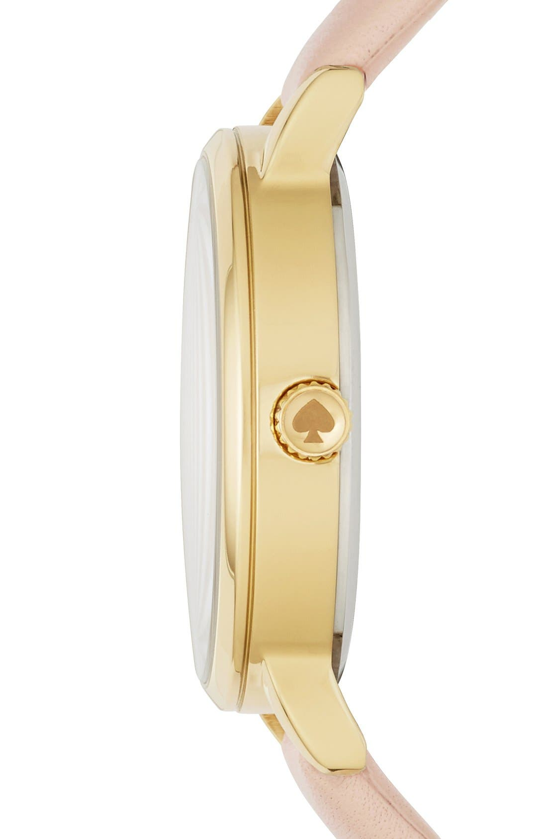 Alternate Image 2  - kate spade new york 'metro - wink' round leather strap watch, 34mm