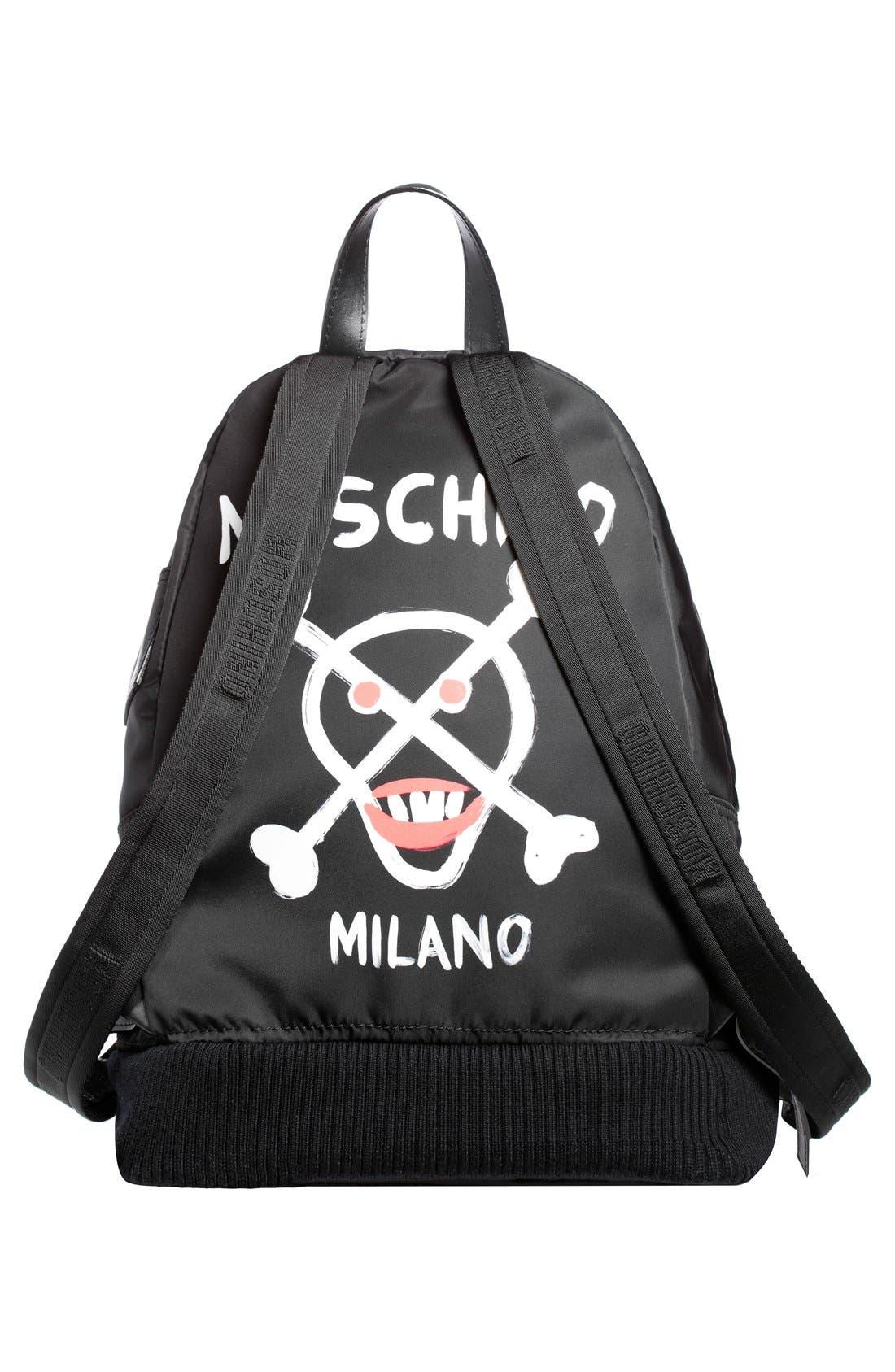 Alternate Image 2  - Moschino Bomber Skull Print Backpack