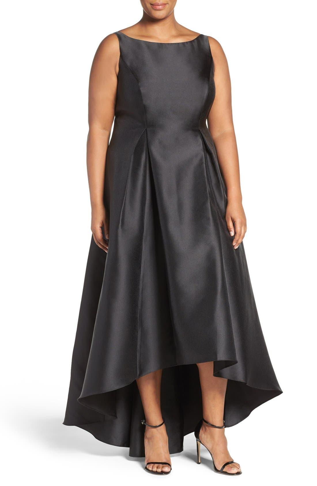 Alternate Image 1 Selected - Adrianna Papell Arcadia Sleeveless High/Low Mikado Ballgown (Plus Size)