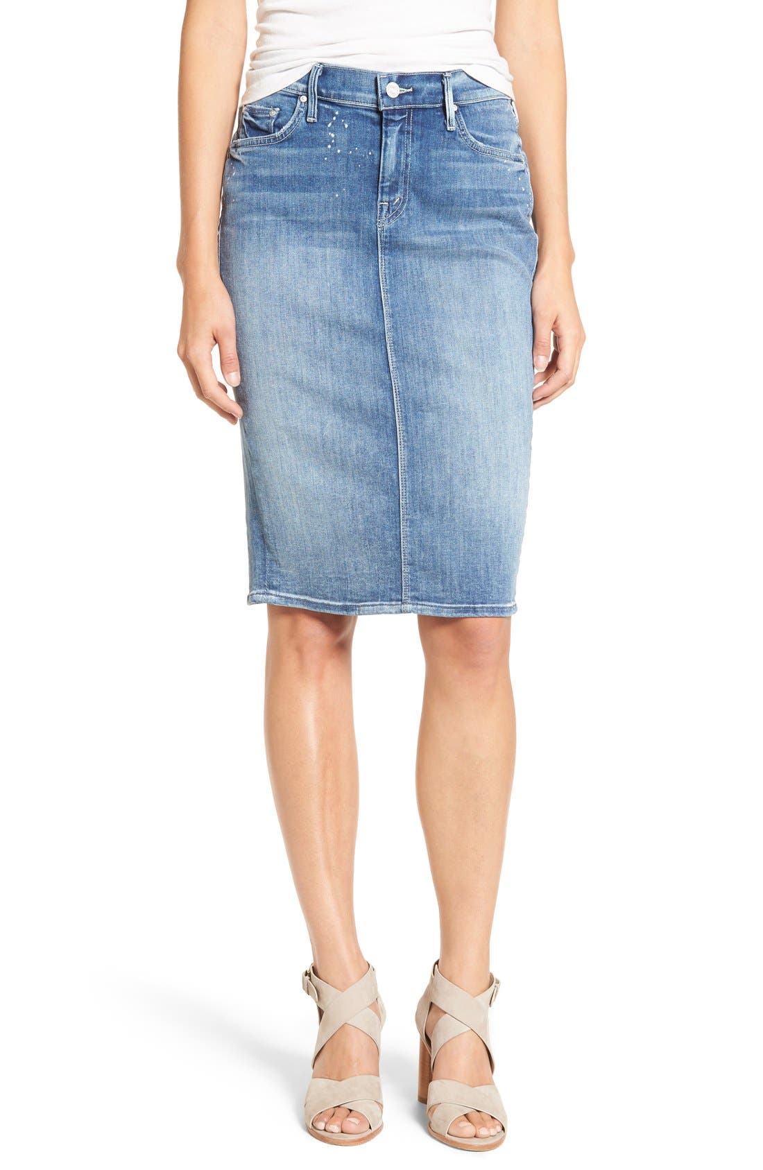Main Image - MOTHER 'The Peg Leg' Denim Pencil Skirt (Double Time)
