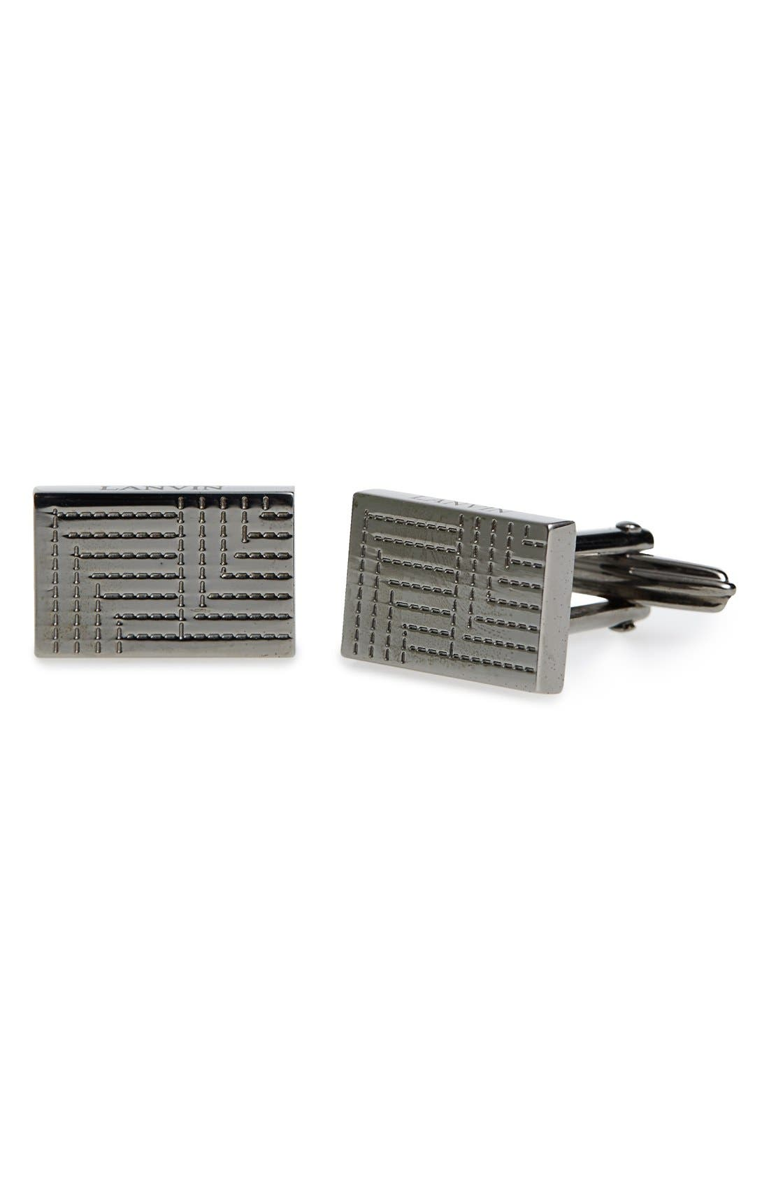 LANVIN Textured Metal Plaque Rectangular Cuff Links