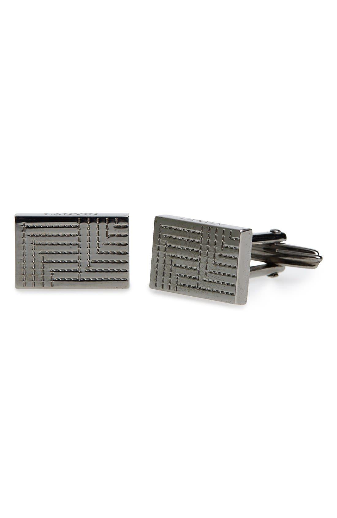 Lanvin Textured Metal Plaque Rectangular Cuff Links