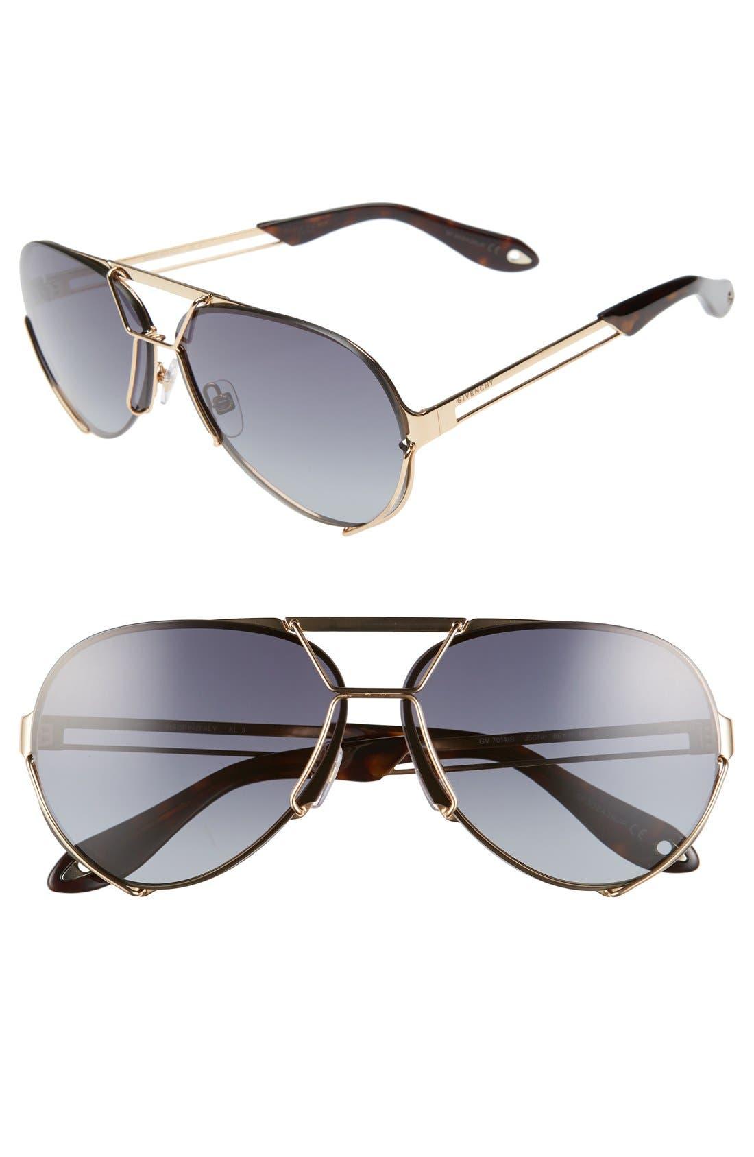 65mm Aviator Sunglasses,                         Main,                         color, Gold/ Grey