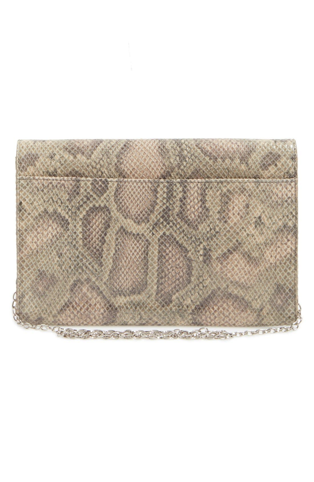 Angled Leather Day Clutch,                             Alternate thumbnail 3, color,                             Brown Falcon Snake