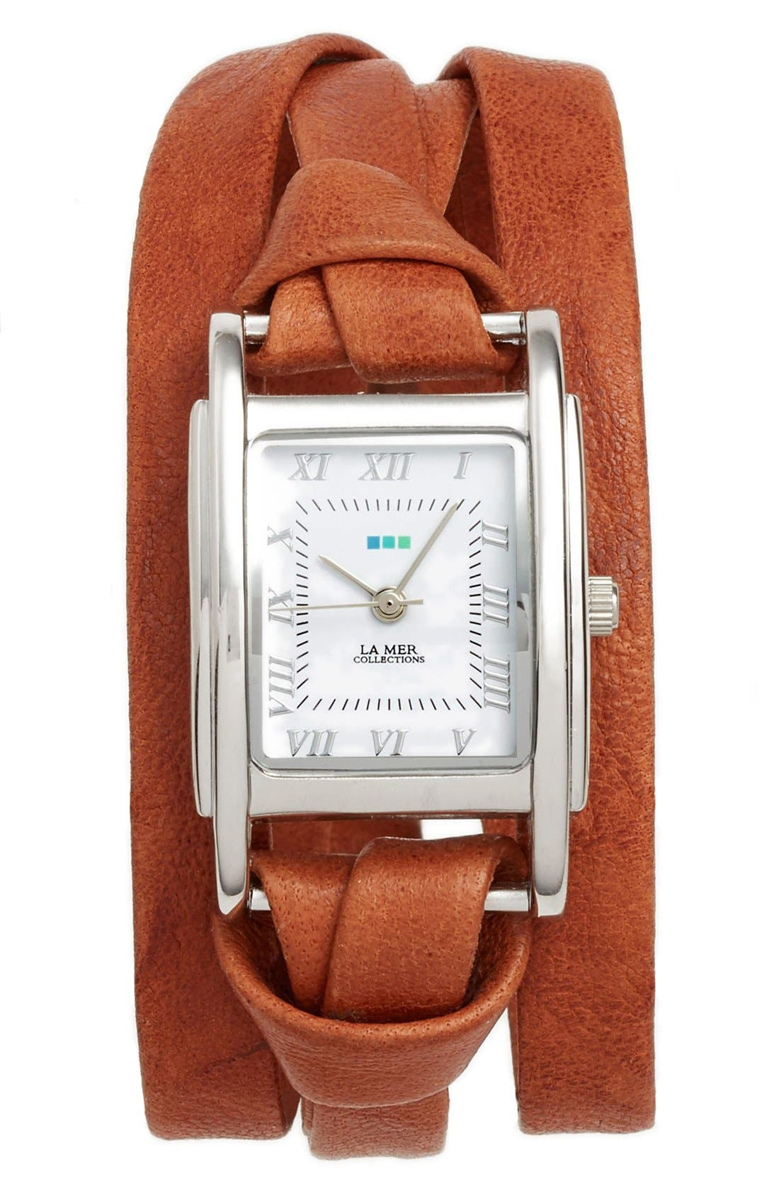 'Milwood' Leather Wrap Watch, 35mm,                         Main,                         color, Brown/ Silver