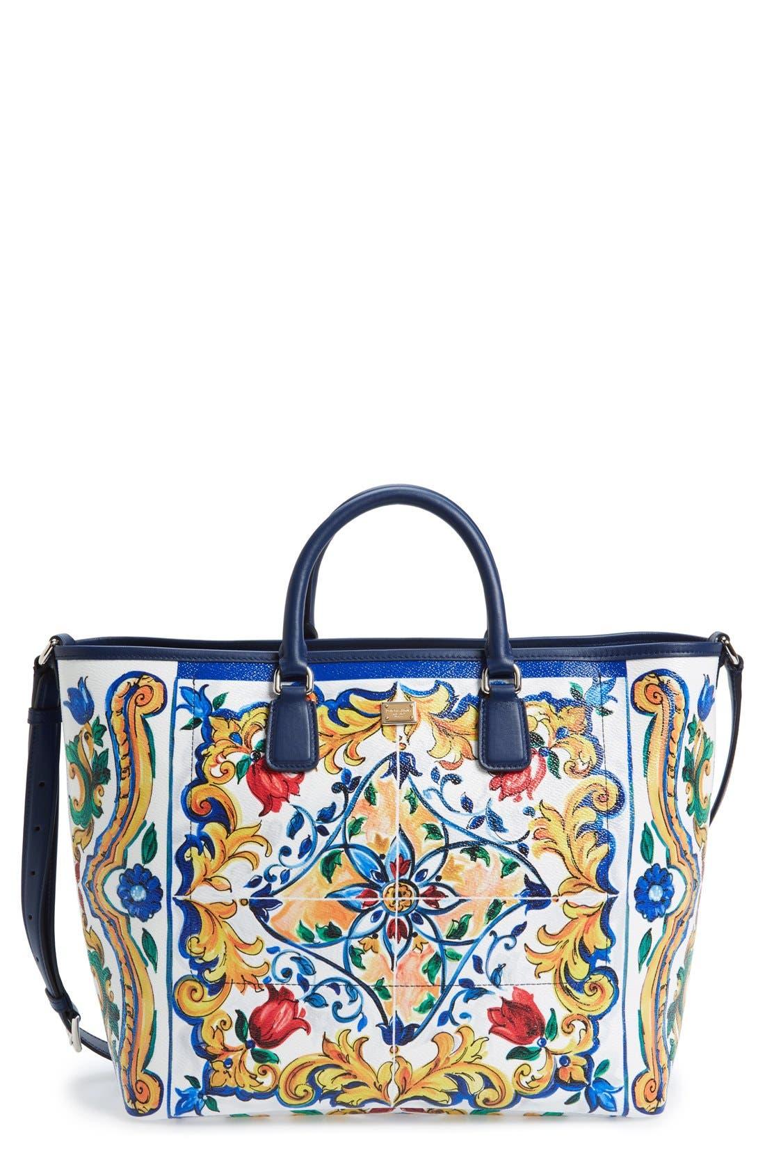 Main Image - Dolce&Gabbana 'Lara' Mallorca Print Painted Shopper