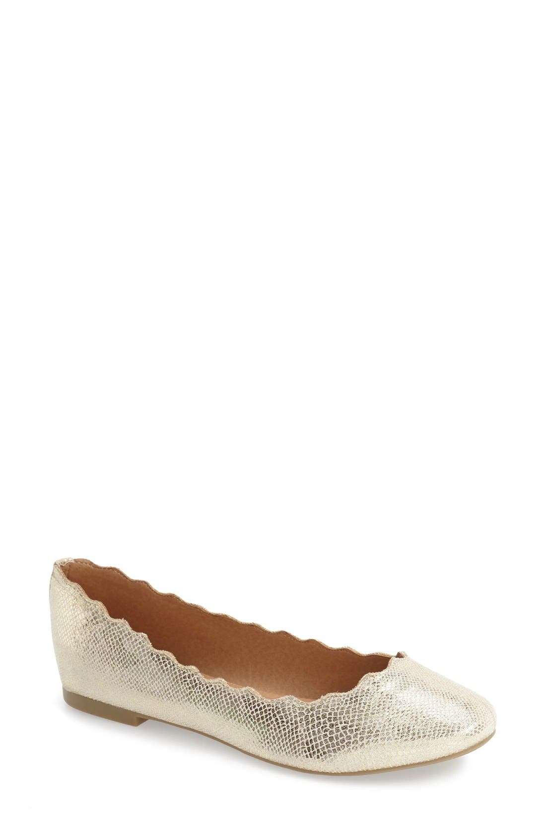 'Toffy' Ballet Flat,                         Main,                         color, Gold Snake