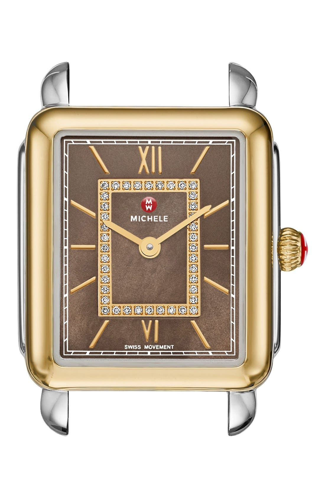 Deco II Diamond Dial Watch Case, 26mm x 28mm,                         Main,                         color, Gold