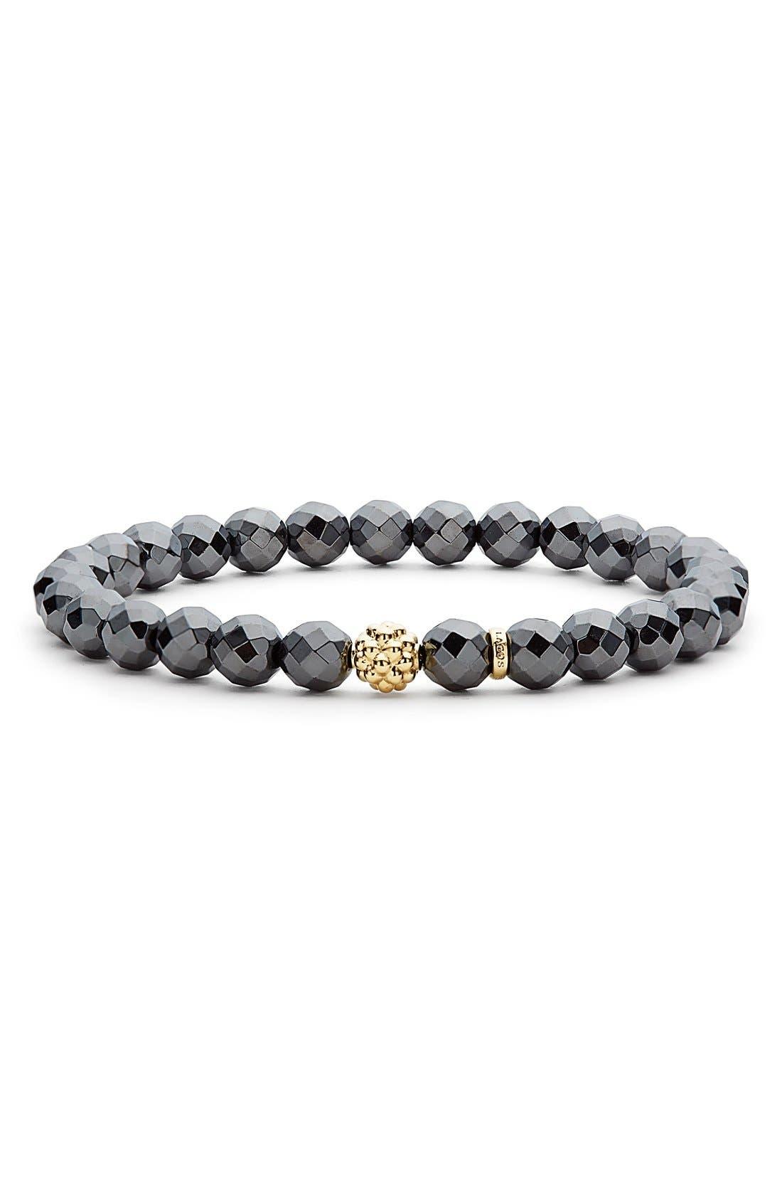 'Caviar Icon' Semiprecious Stone Bracelet,                             Main thumbnail 1, color,                             Hematite/ Gold