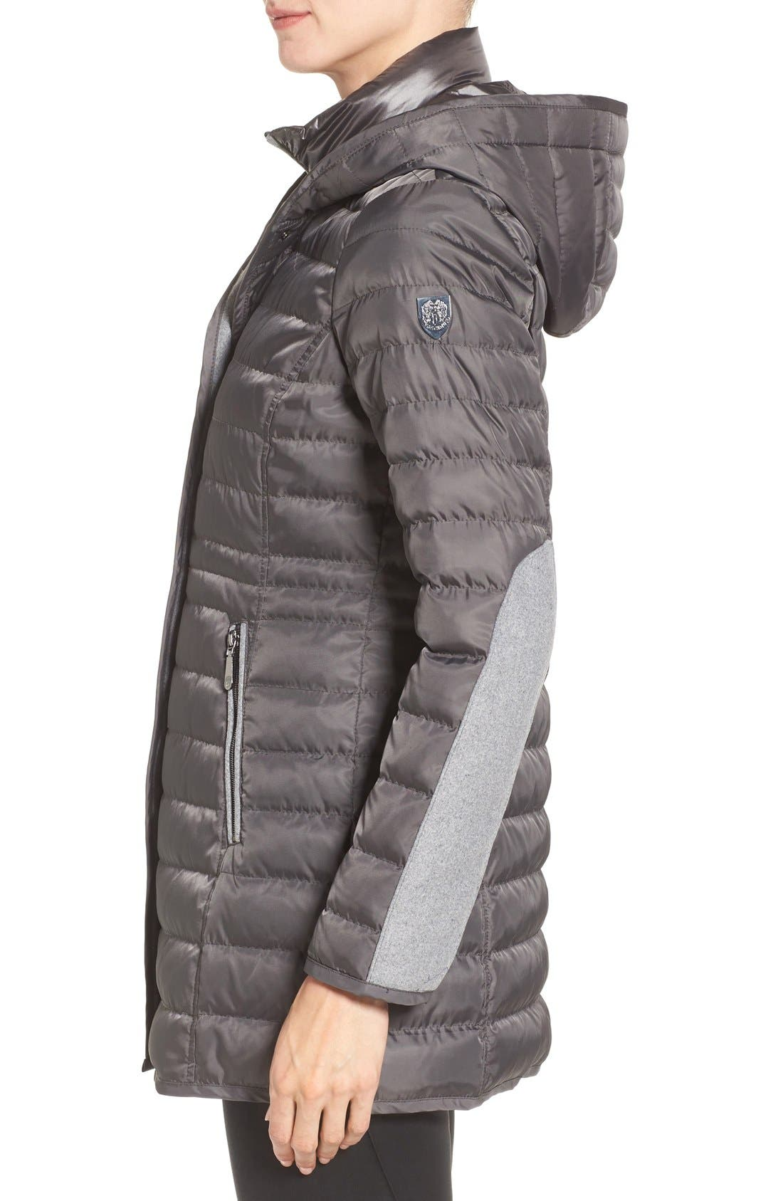 Quilted Down Coat,                             Alternate thumbnail 3, color,                             Iron